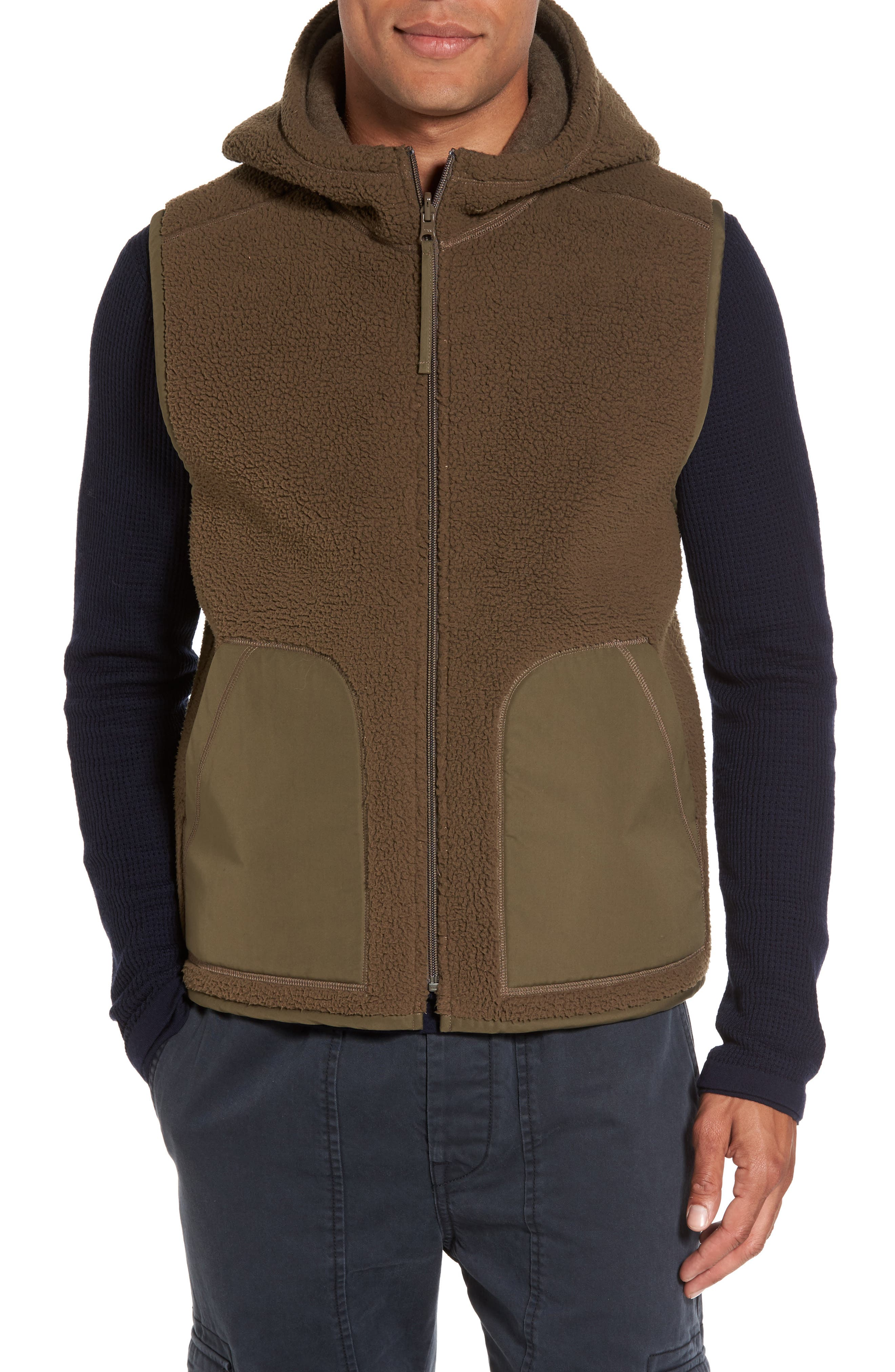 Vince Reversible Hooded Faux Shearling Vest
