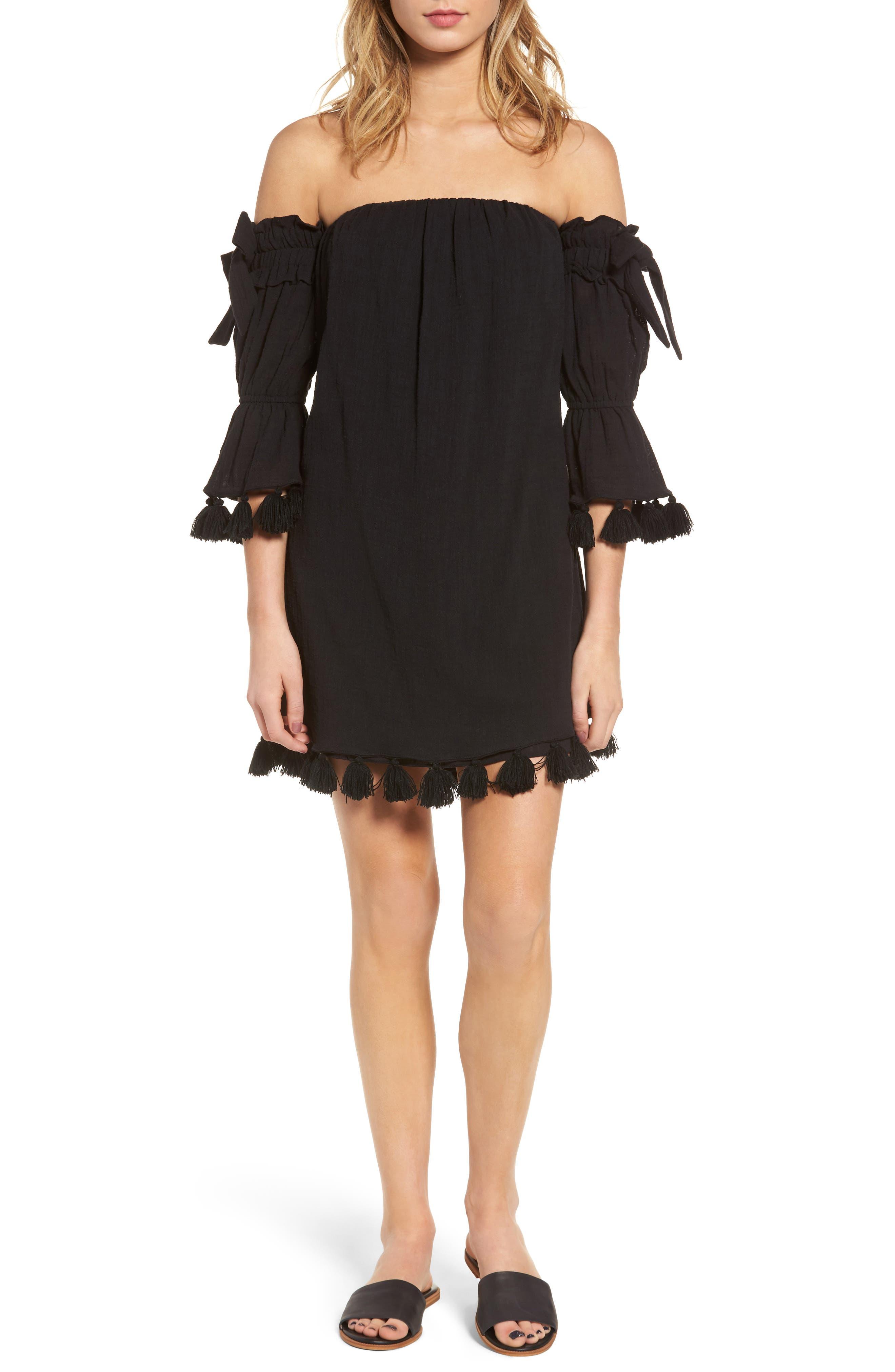 Helena Off the Shoulder Dress,                         Main,                         color, Onyx