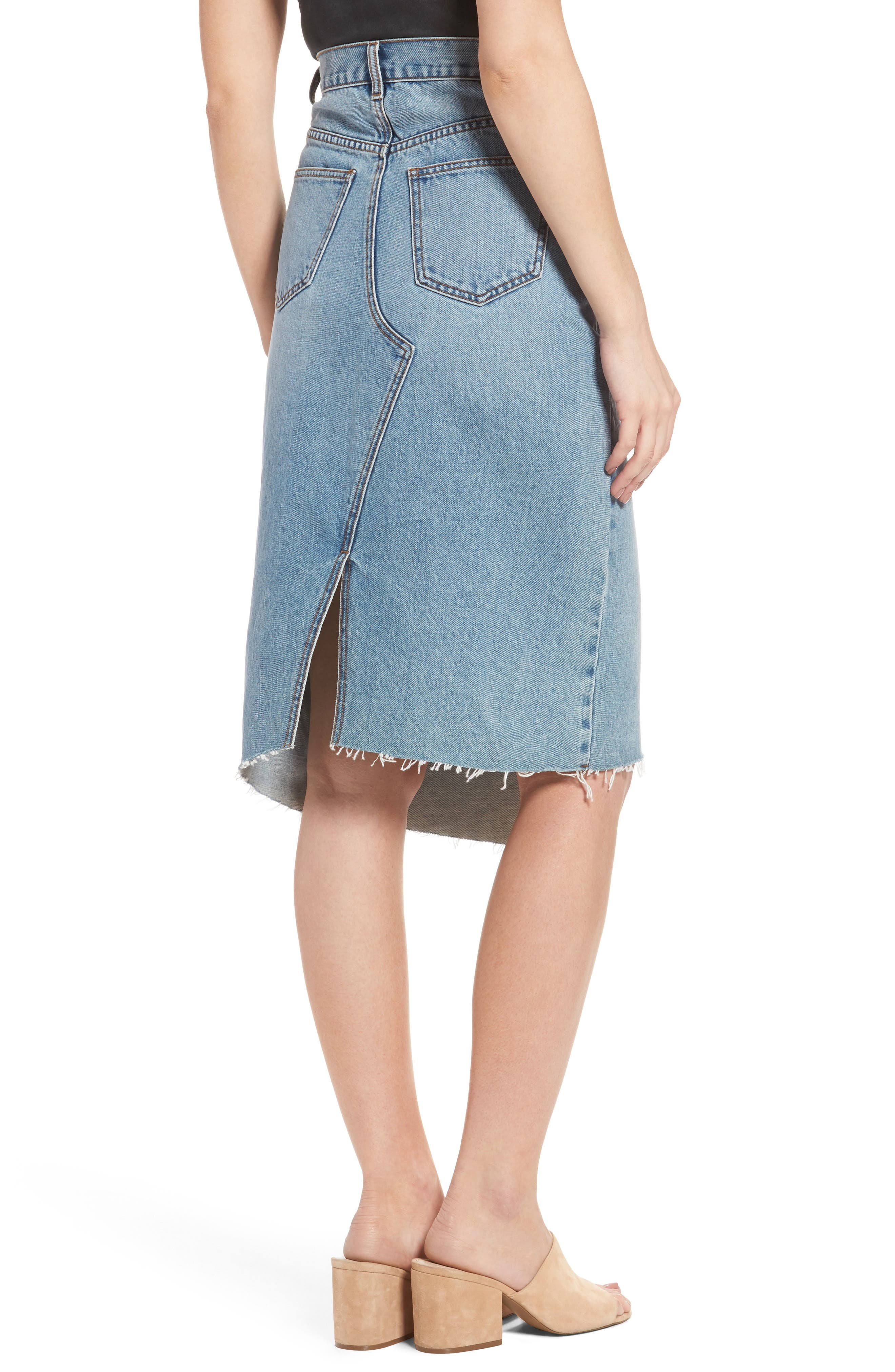 Asymmetrical Denim Pencil Skirt,                             Alternate thumbnail 3, color,                             Light Blue