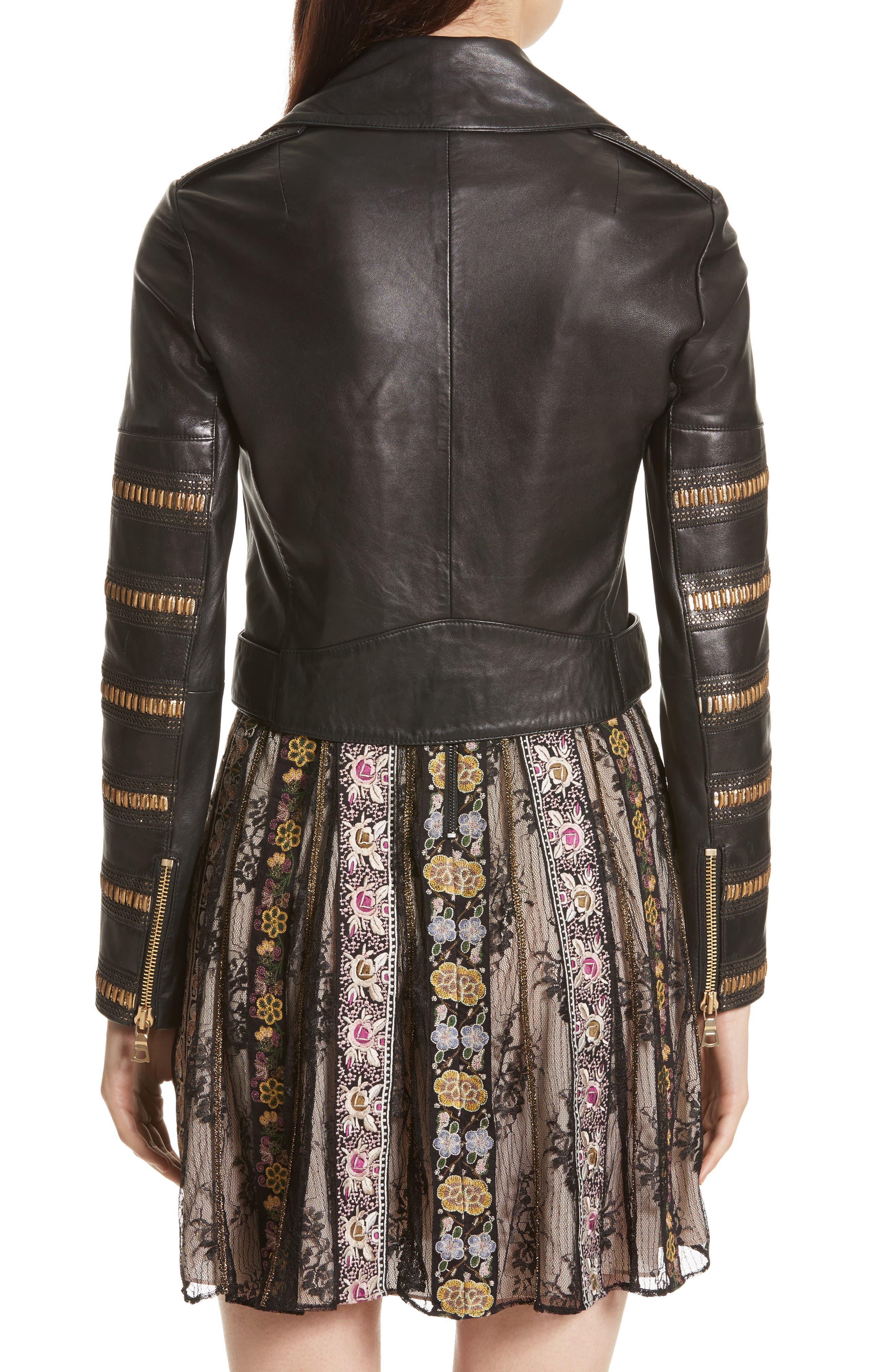 Alternate Image 2  - Alice + Olivia Cody Embellished Leather Moto Jacket