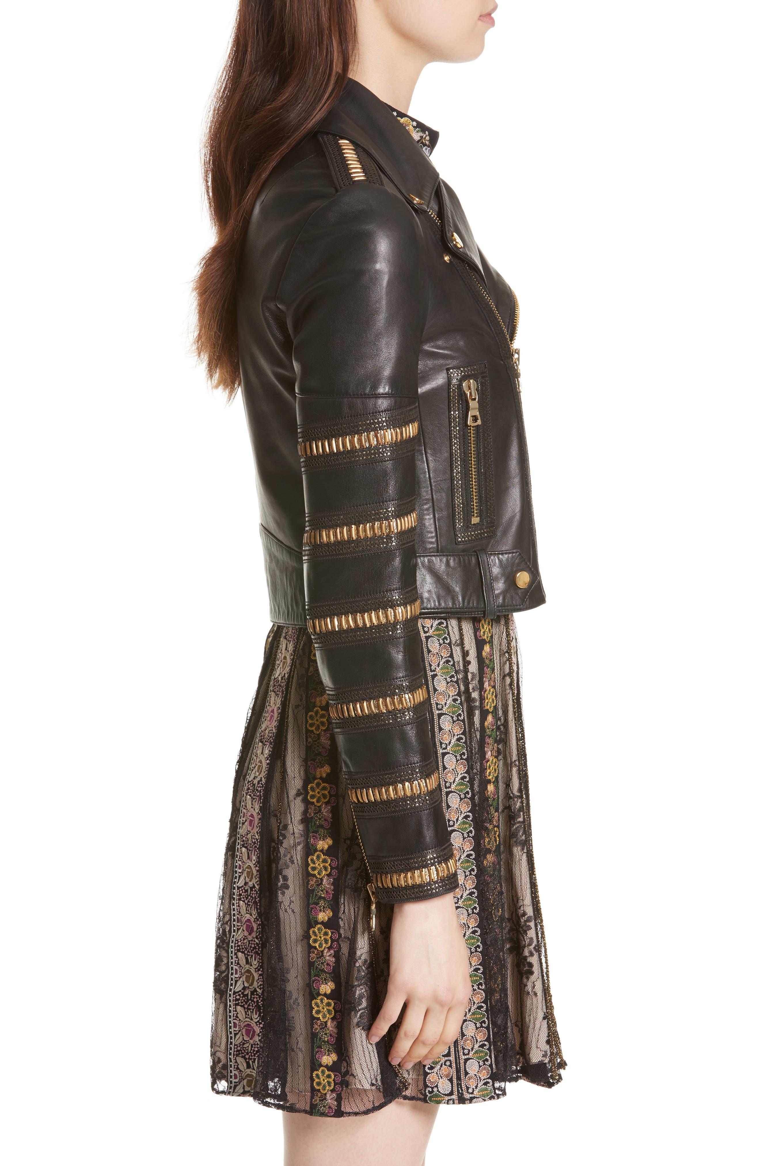 Alternate Image 3  - Alice + Olivia Cody Embellished Leather Moto Jacket