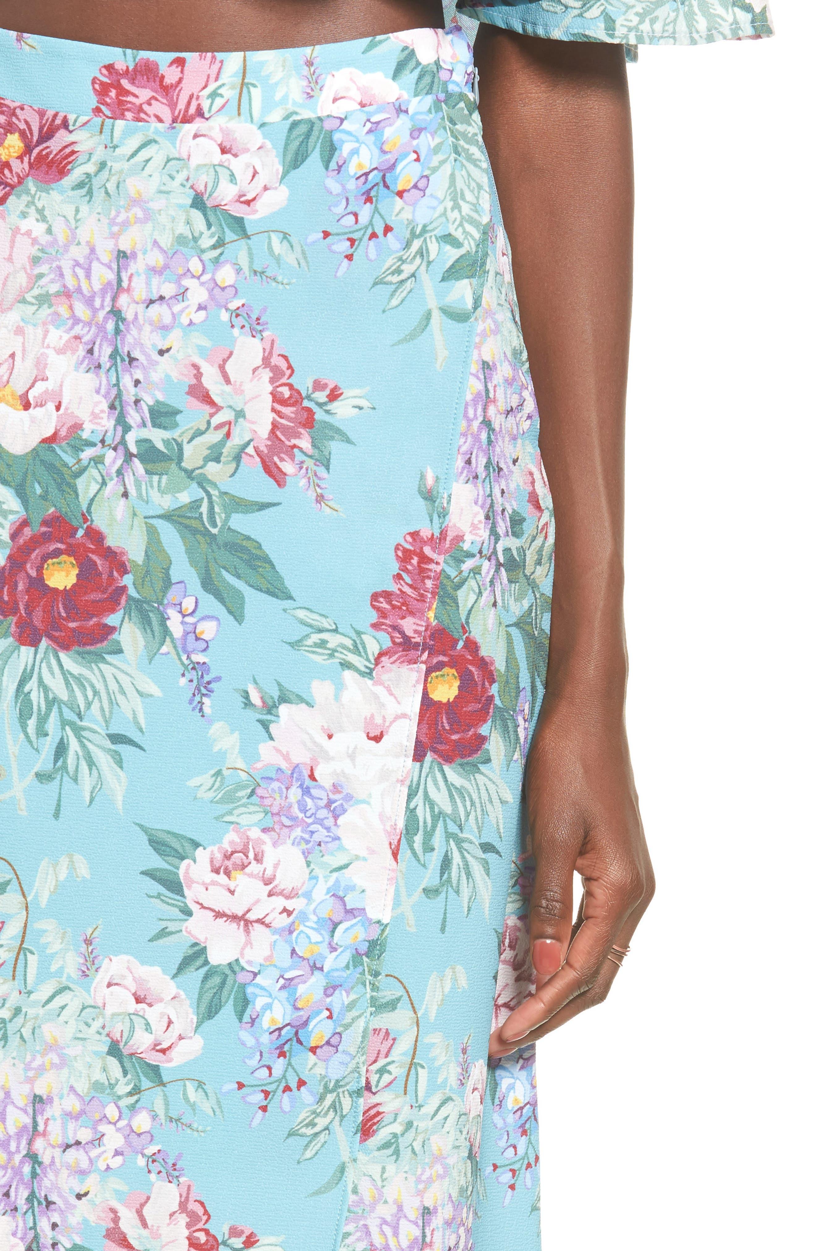 Flirt Midi Skirt,                             Alternate thumbnail 4, color,                             Darling Dolls Crinkle