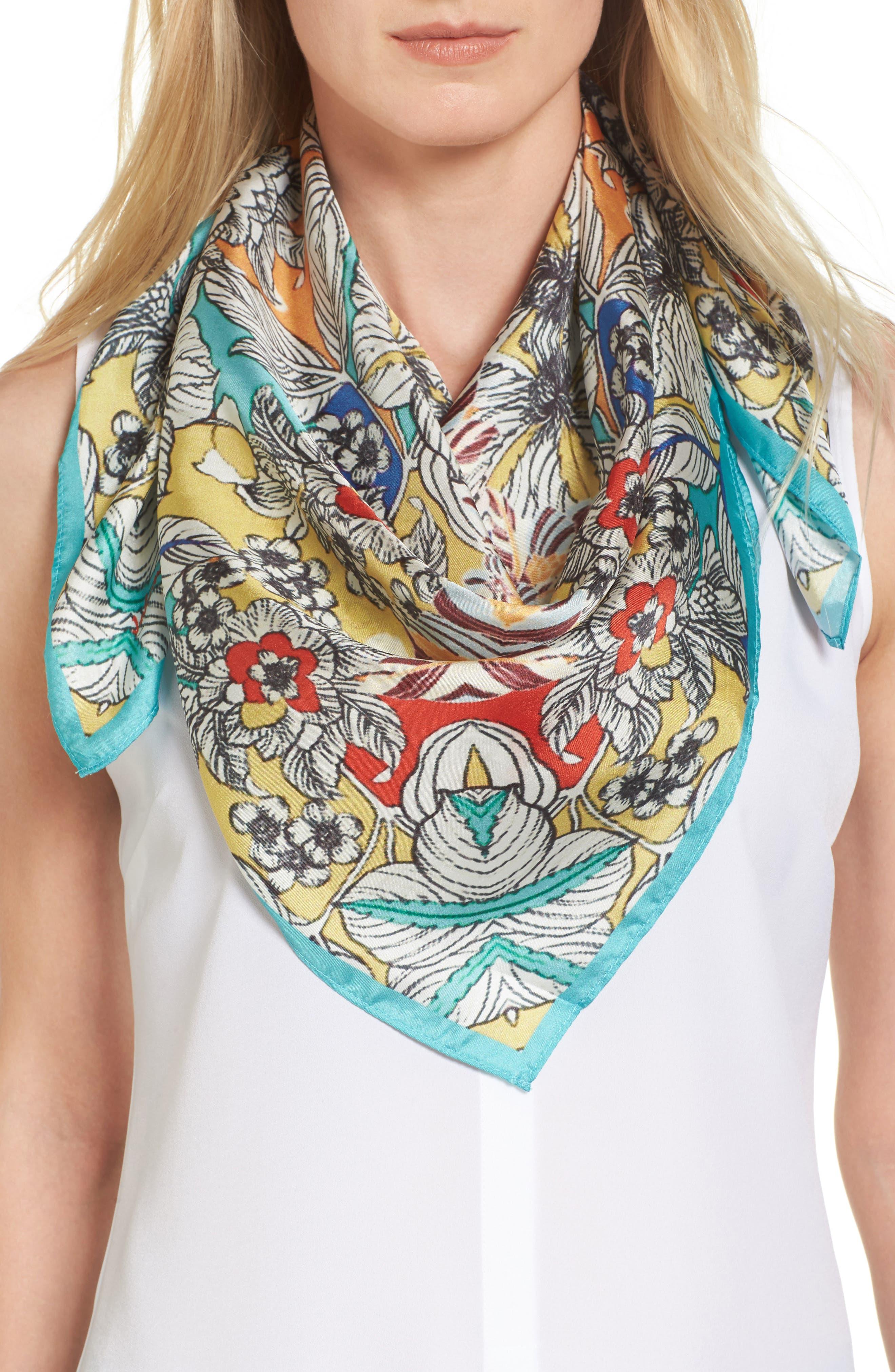 Maitri Silk Square Scarf,                         Main,                         color, Mixed Print