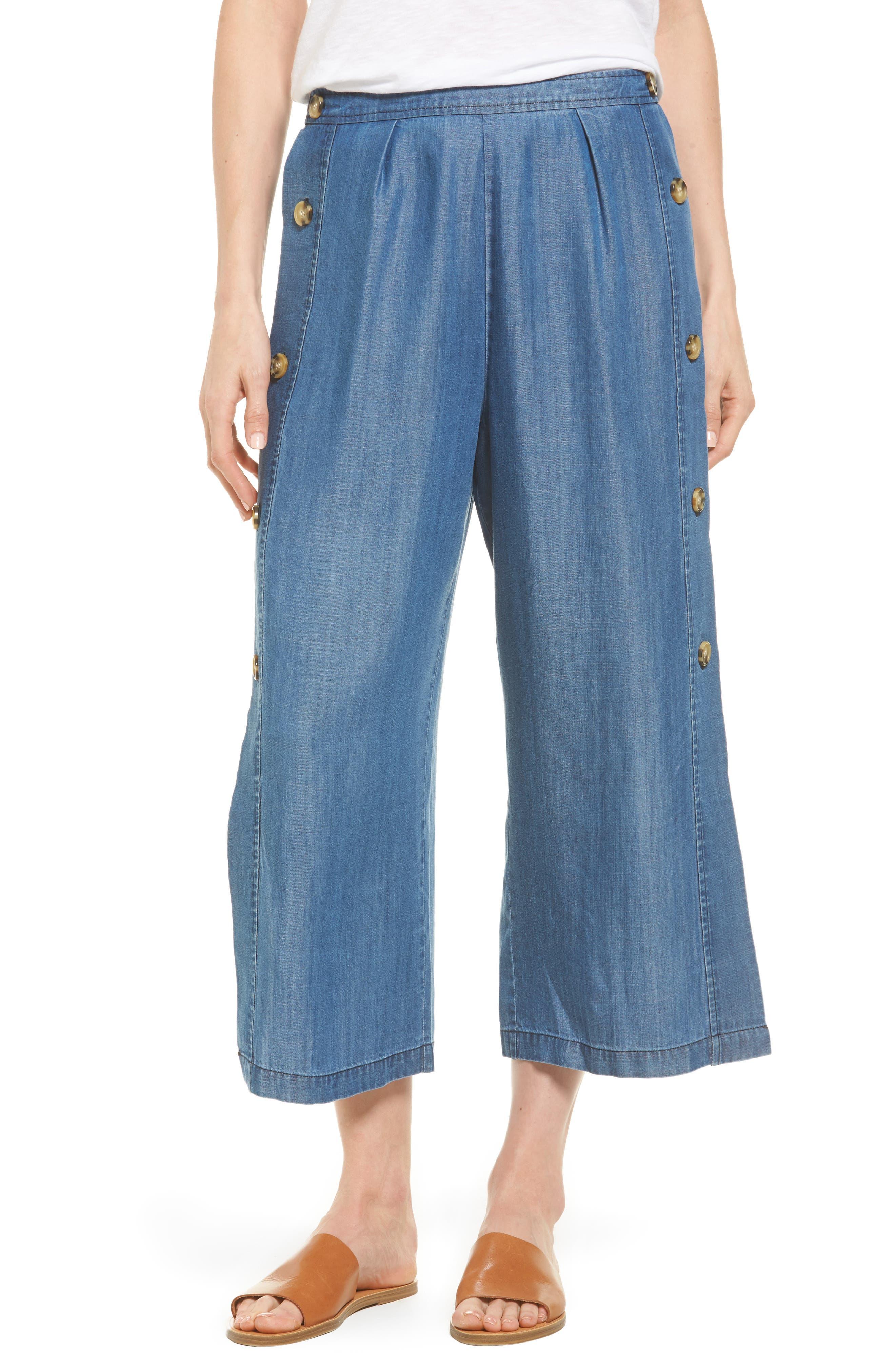 Watson Wide Leg Crop Pants,                         Main,                         color, Chambray