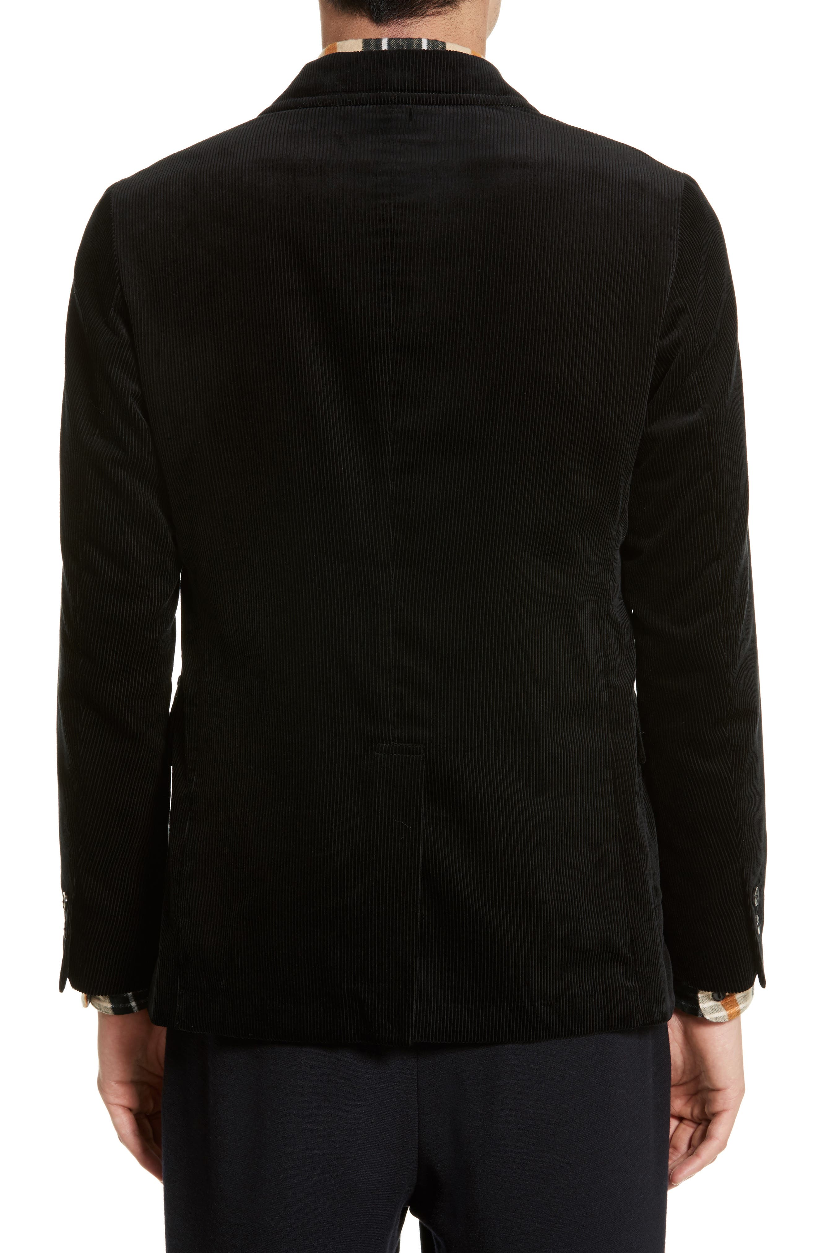 Sea Island Corduroy Jacket,                             Alternate thumbnail 2, color,                             Black