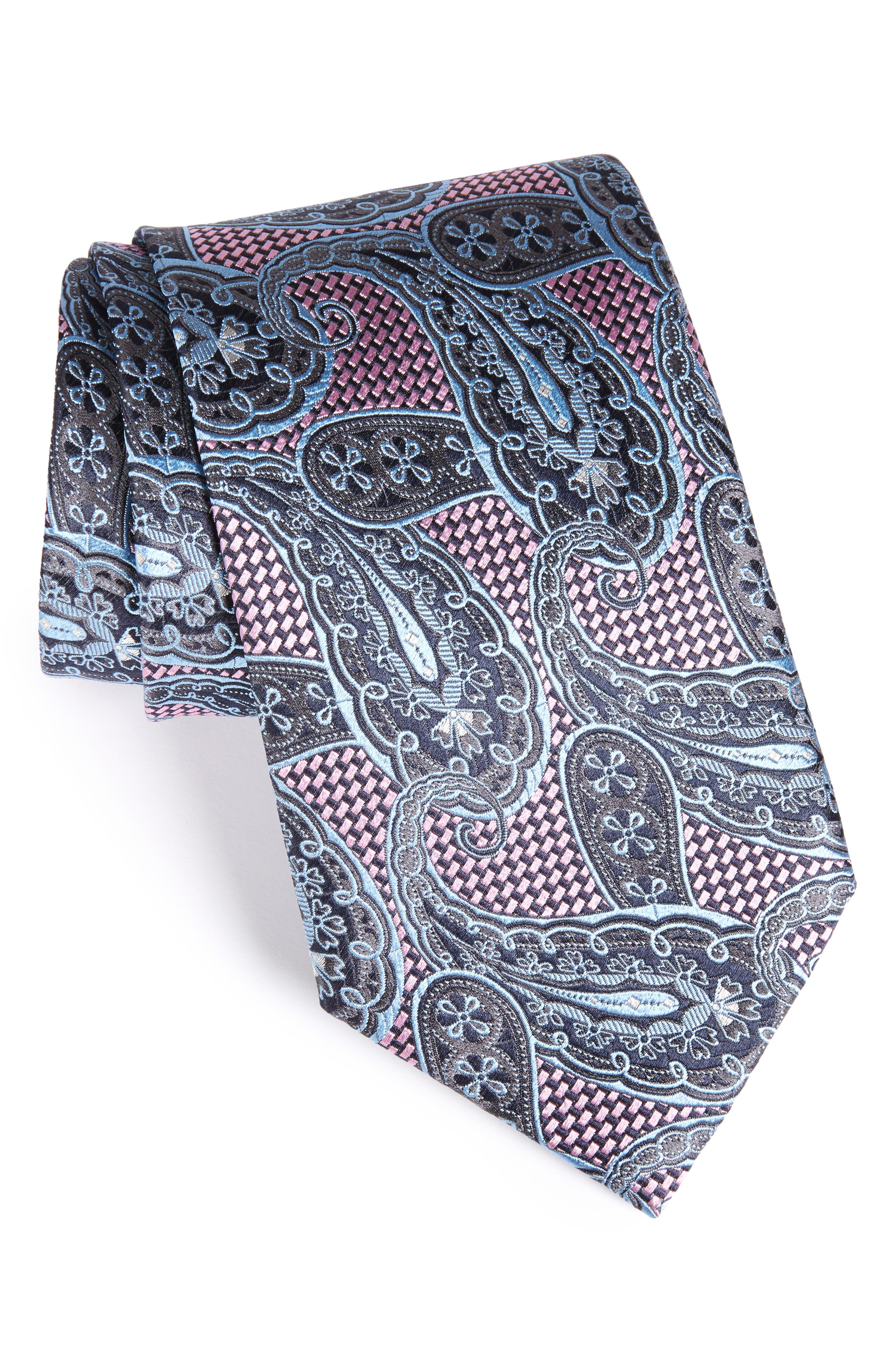 Paisley Silk Tie,                         Main,                         color, Pink