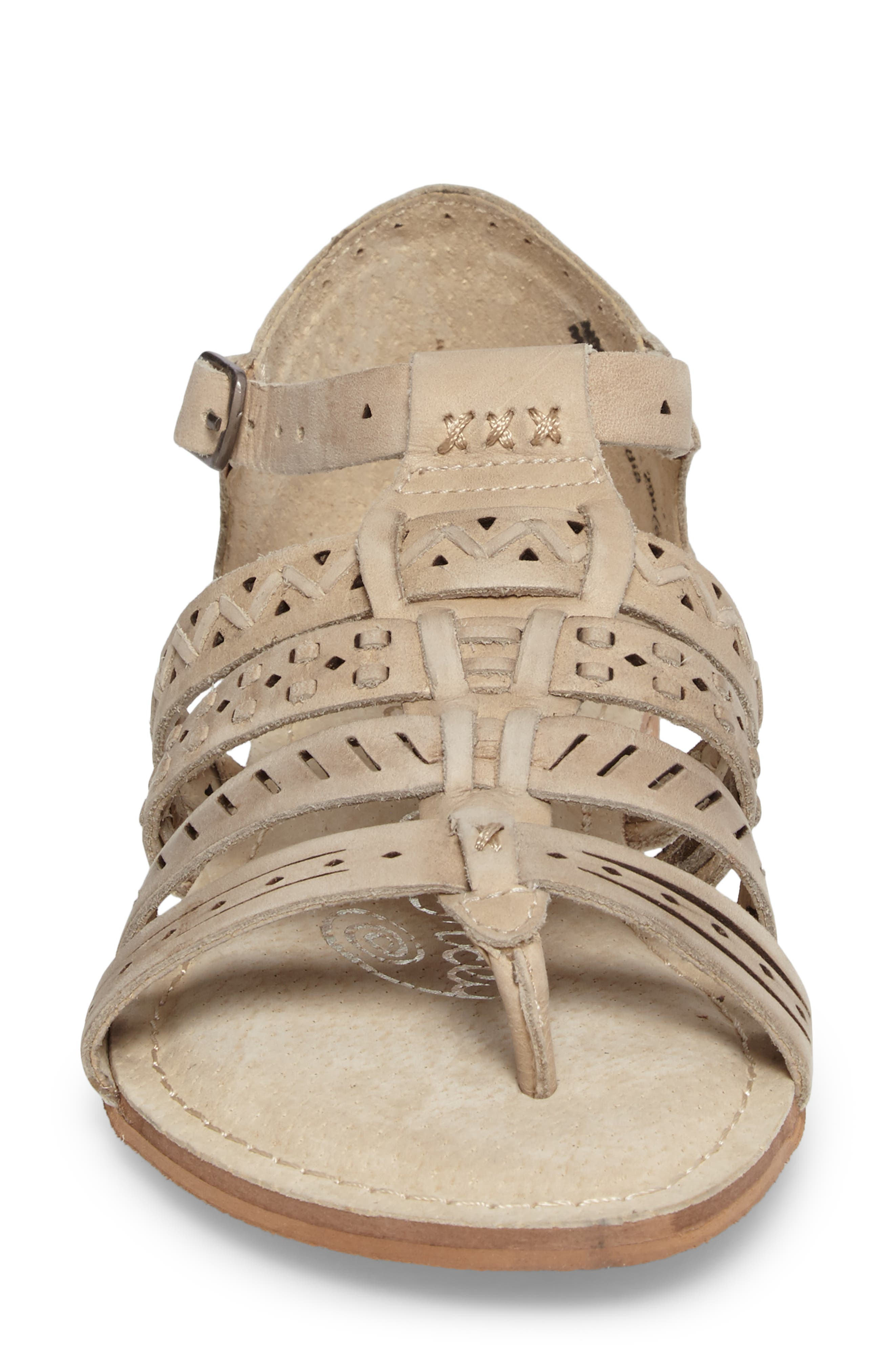 True Grit Perforated Sandal,                             Alternate thumbnail 4, color,                             Cream Leather