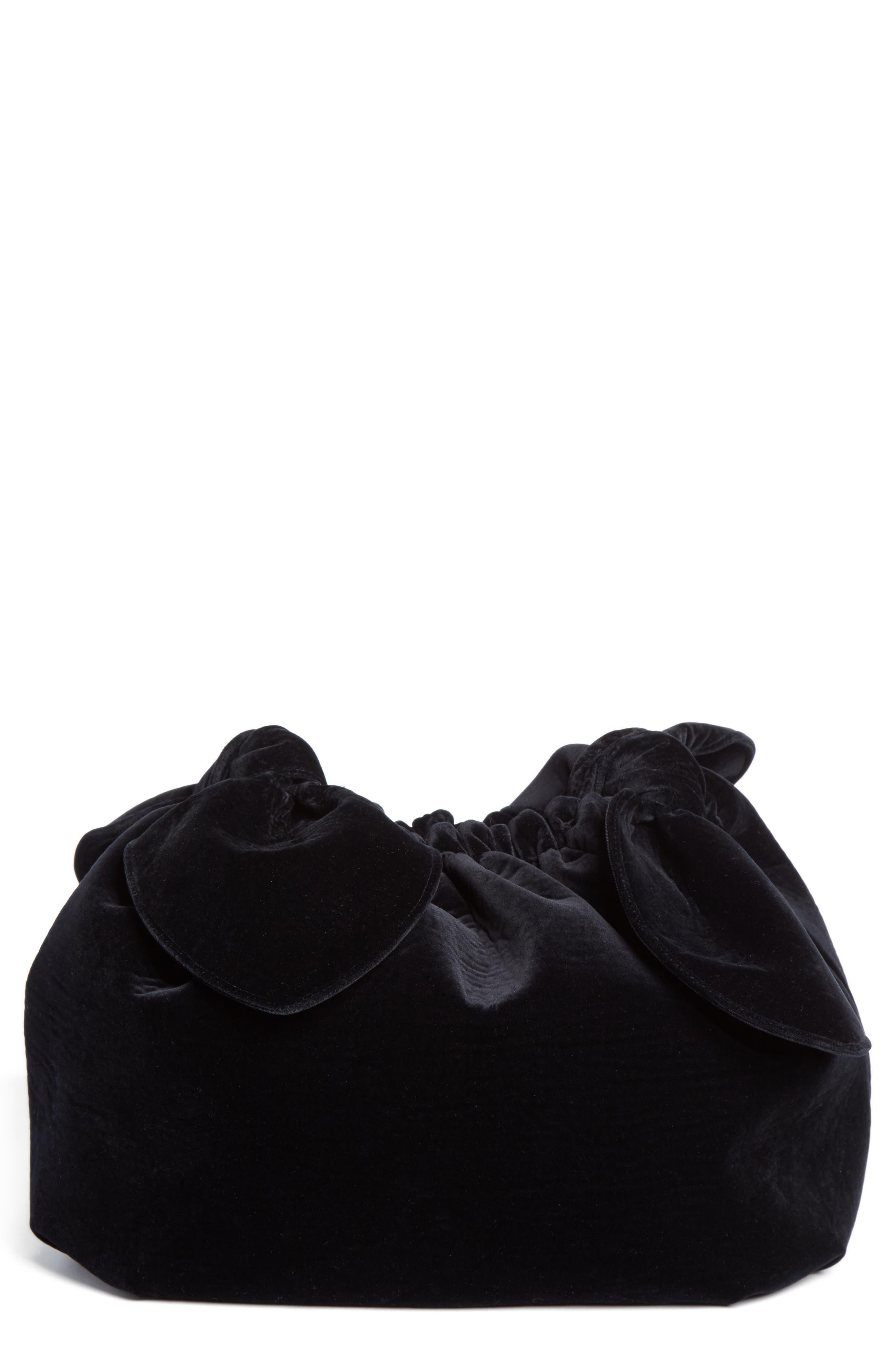 Velvet Double Bow Clutch,                         Main,                         color, Black
