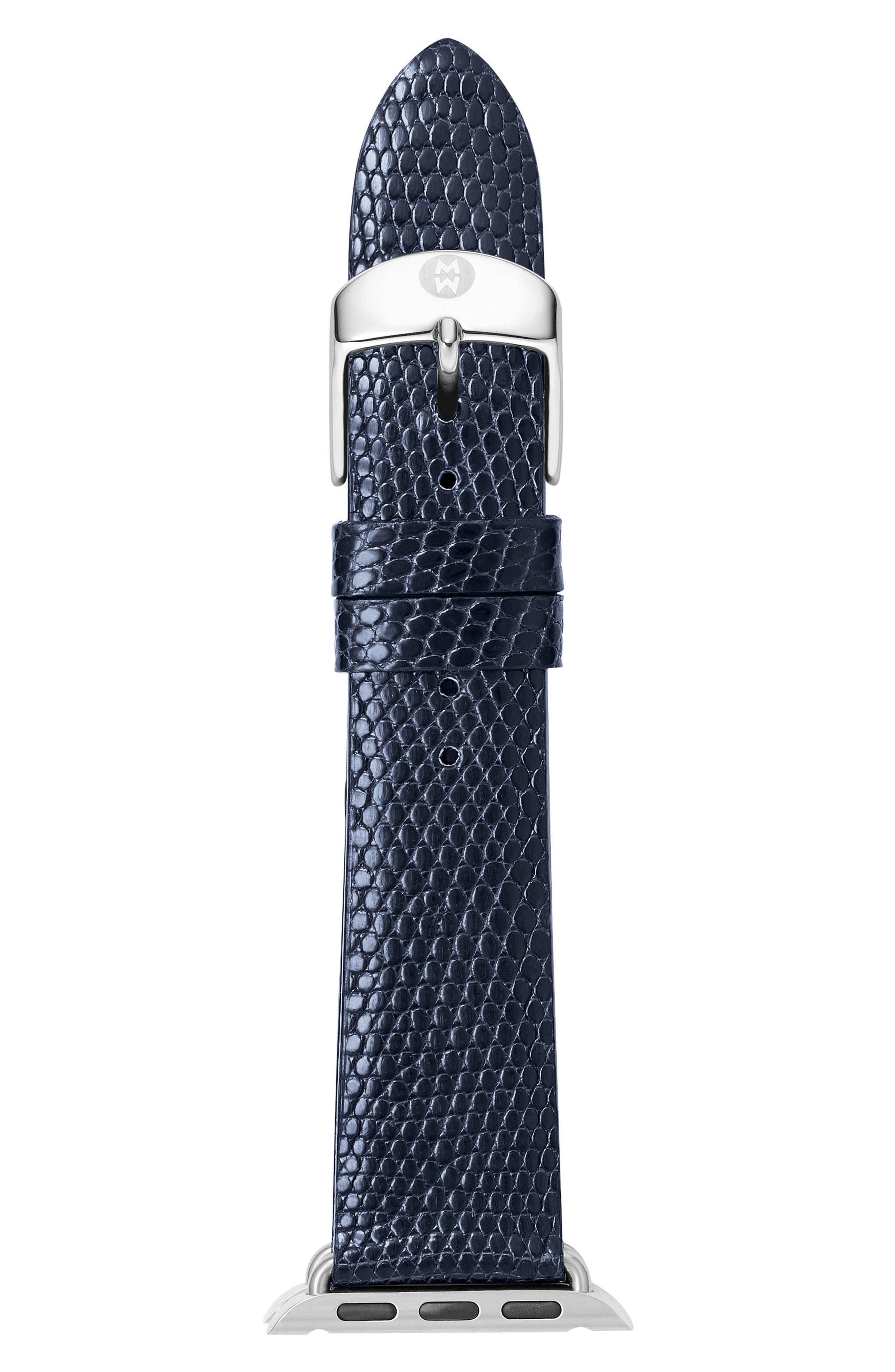 Apple Lizard Watch Strap, 38mm,                         Main,                         color, Navy/ Silver