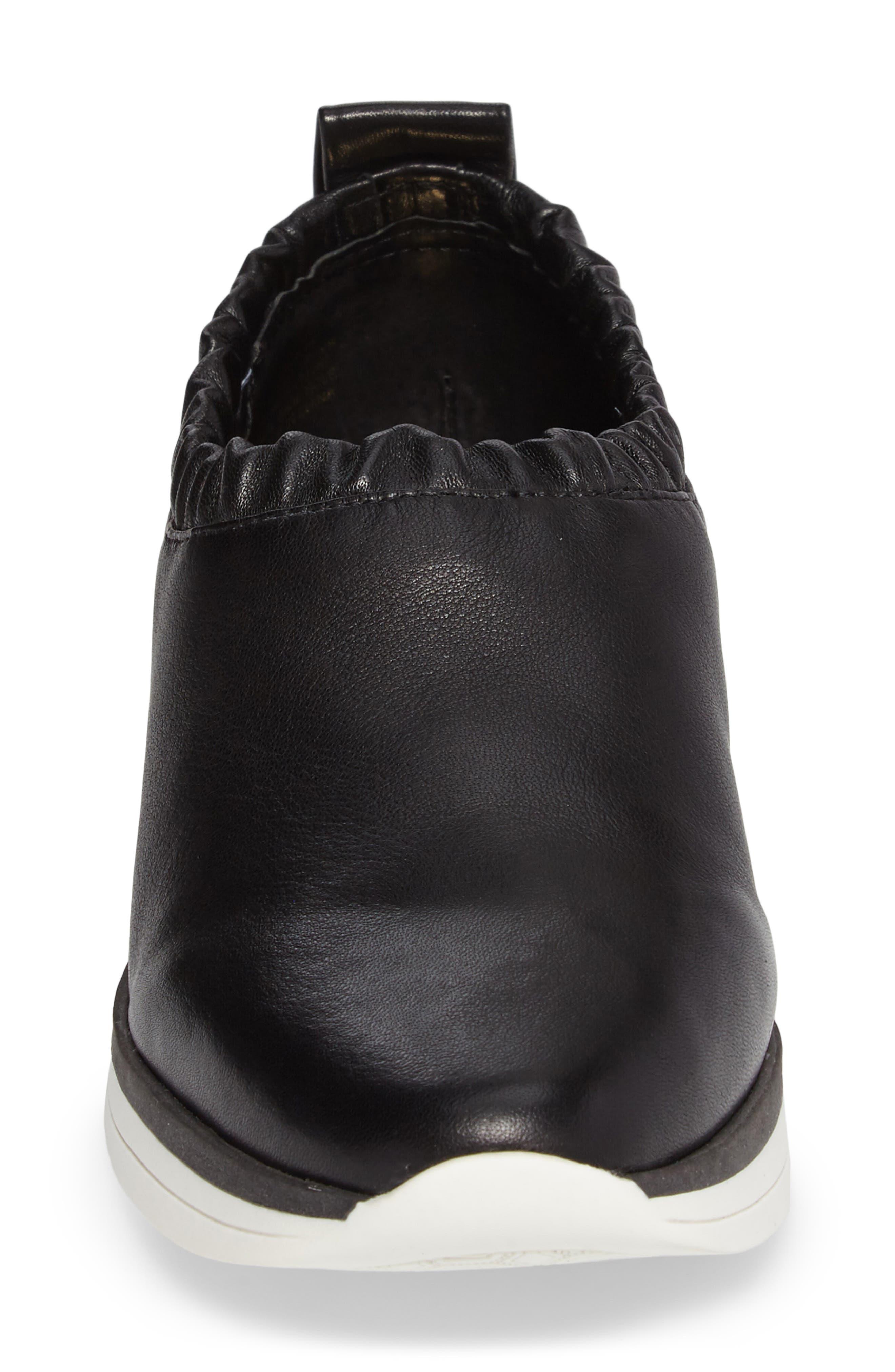 Brogen Slip-On Sneaker,                             Alternate thumbnail 4, color,                             Black Leather