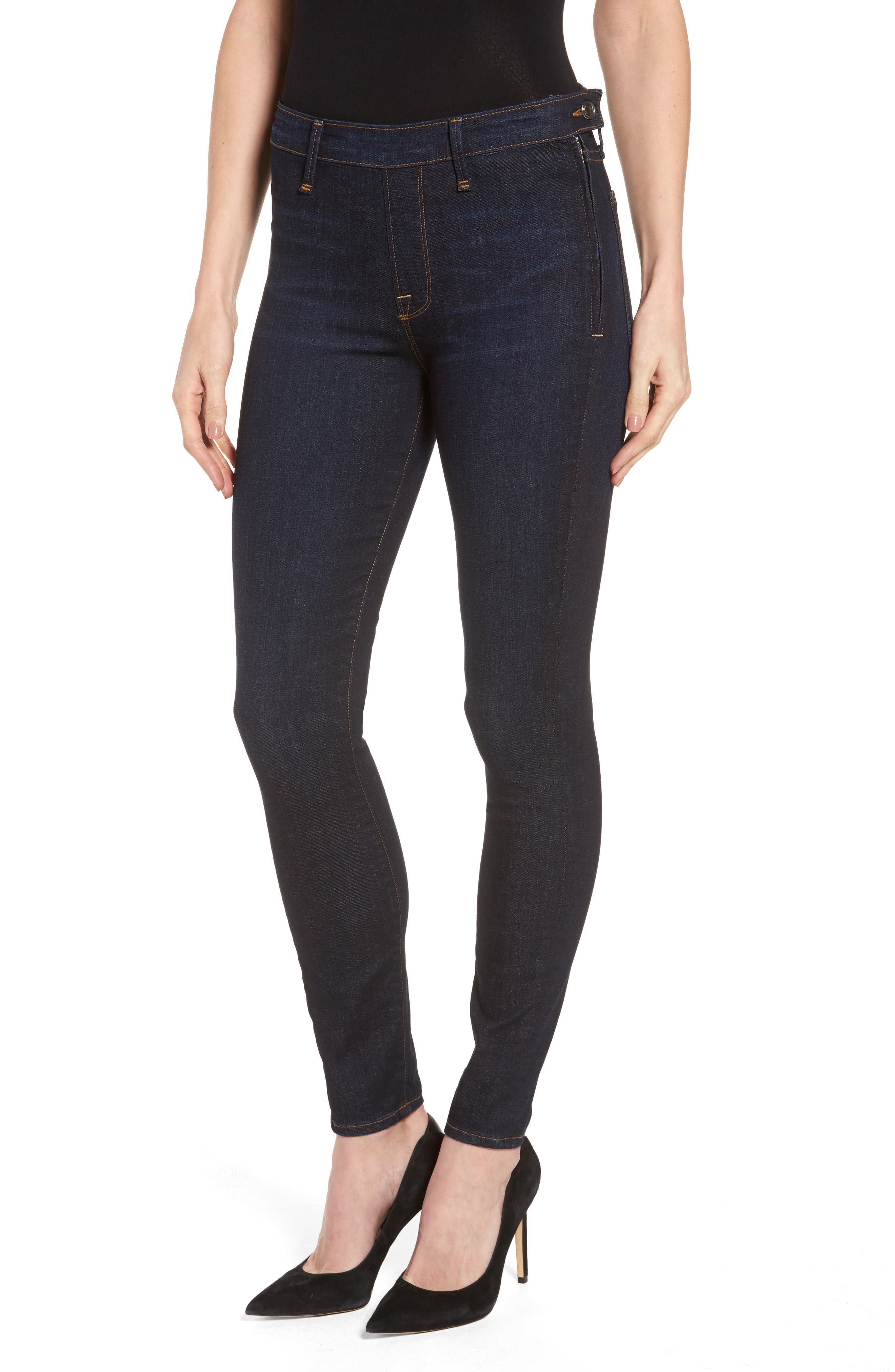 Main Image - Good American High Waist Side Zip Skinny Jeans (Blue 051) (Extended Sizes)