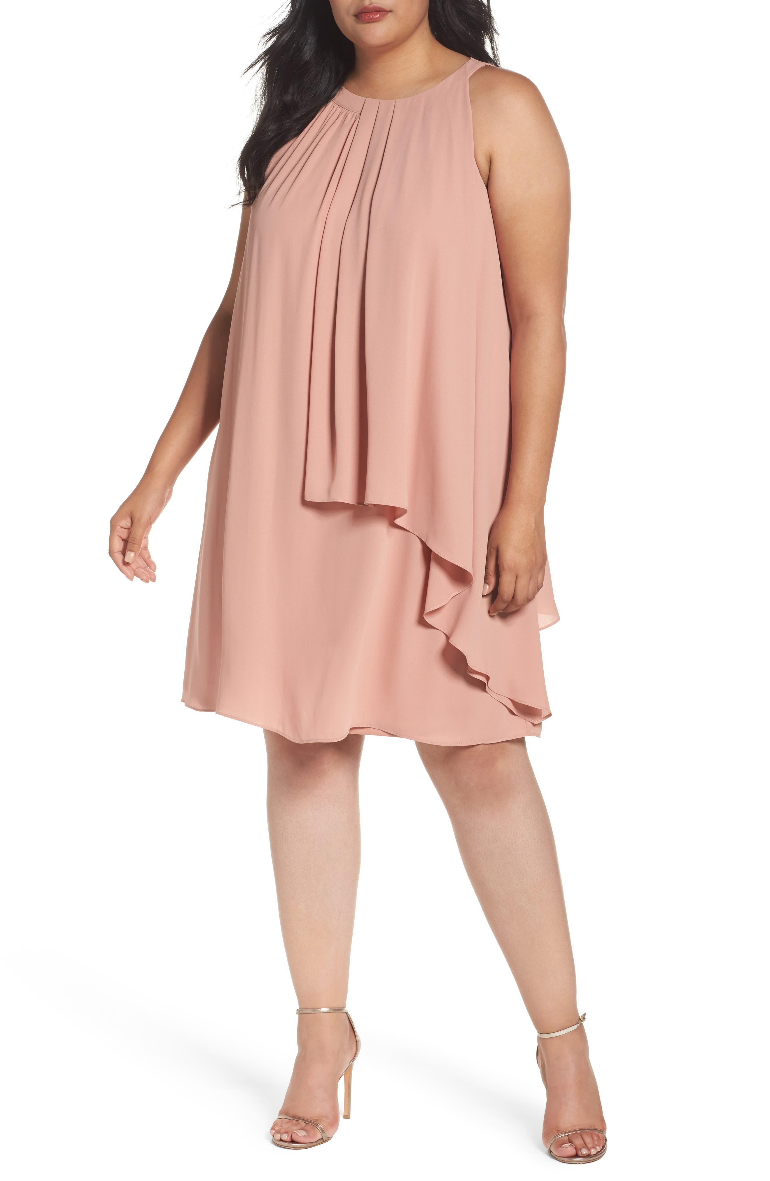London Times Halter Style Tiered Georgette Shift Dress (Plus Size)