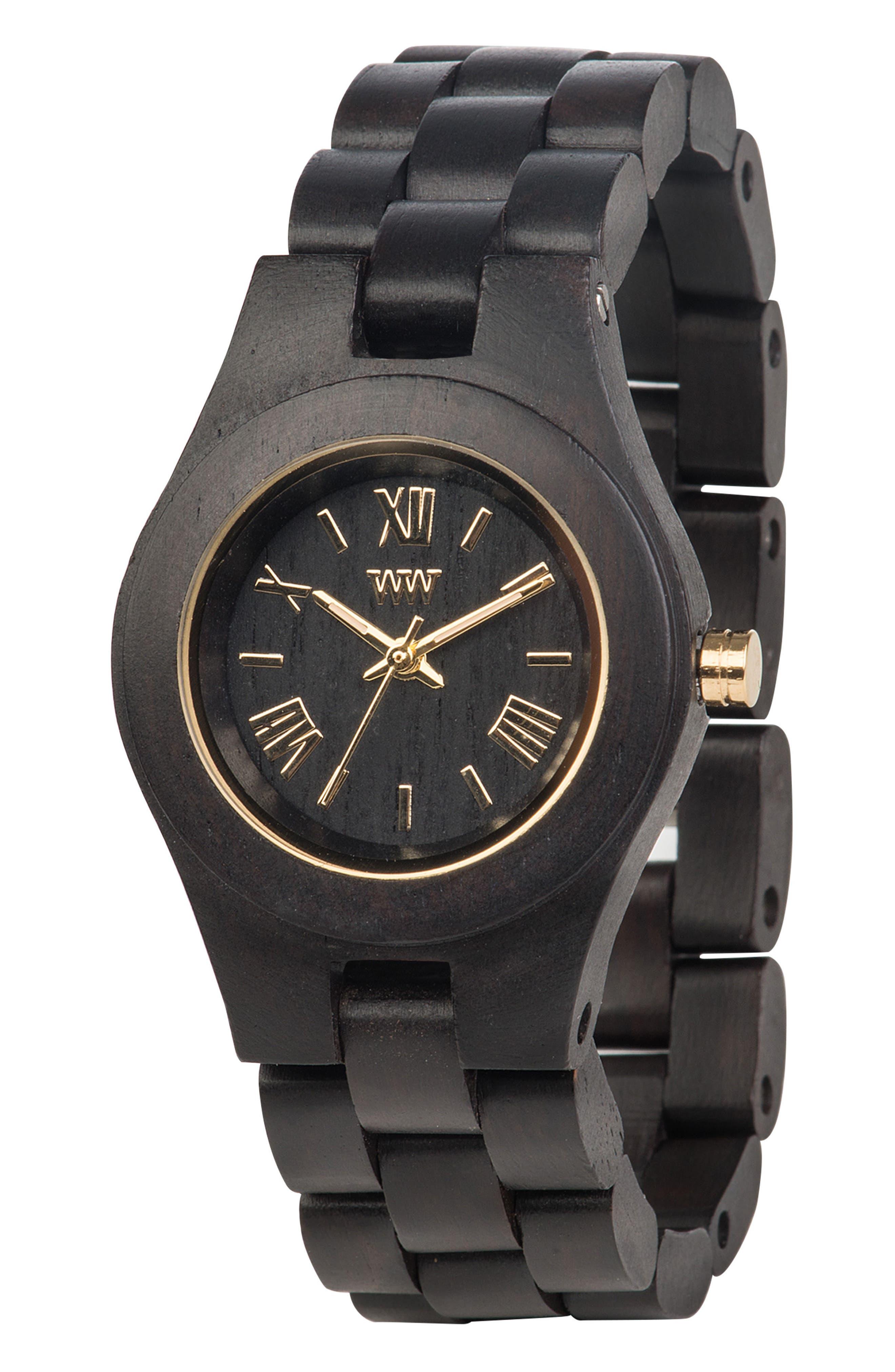 Criss Wood Bracelet Watch, 31mm,                             Alternate thumbnail 3, color,                             Black