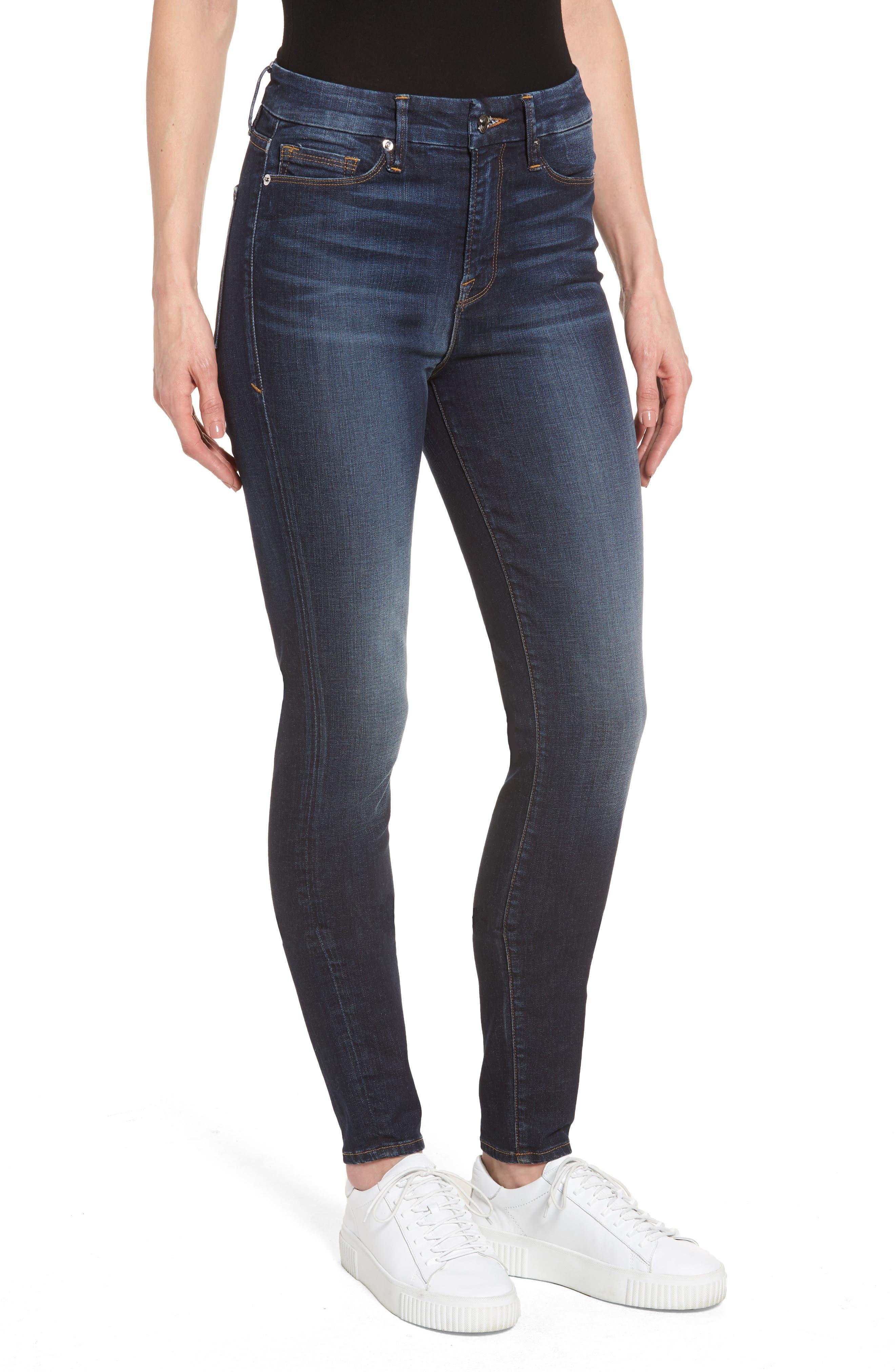 Good American Good Waist High Waist Skinny Jeans (Blue 055) (Extended Sizes)
