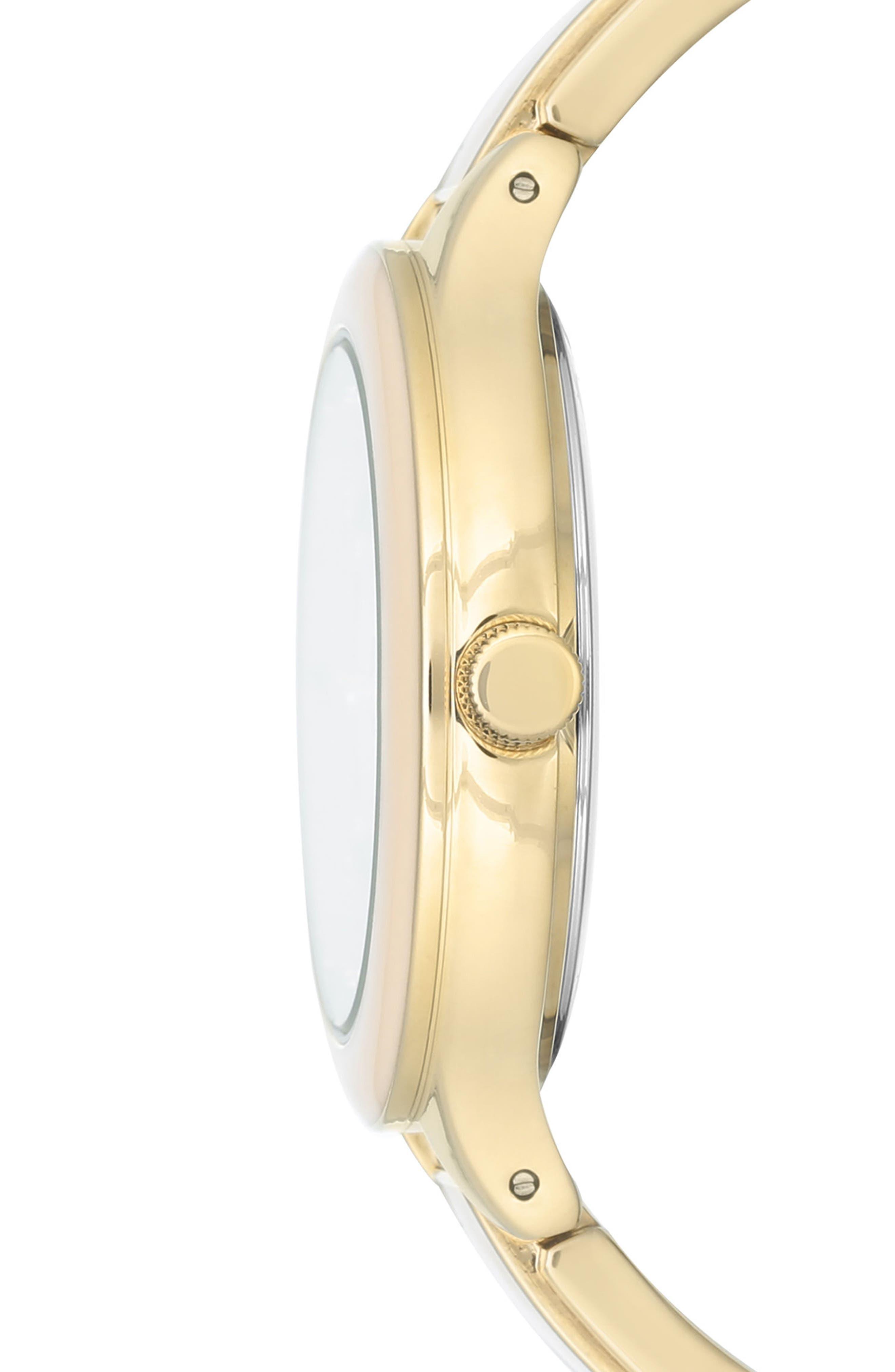 Enamel Bangle Watch, 32mm,                             Alternate thumbnail 3, color,                             Blush/ Gold
