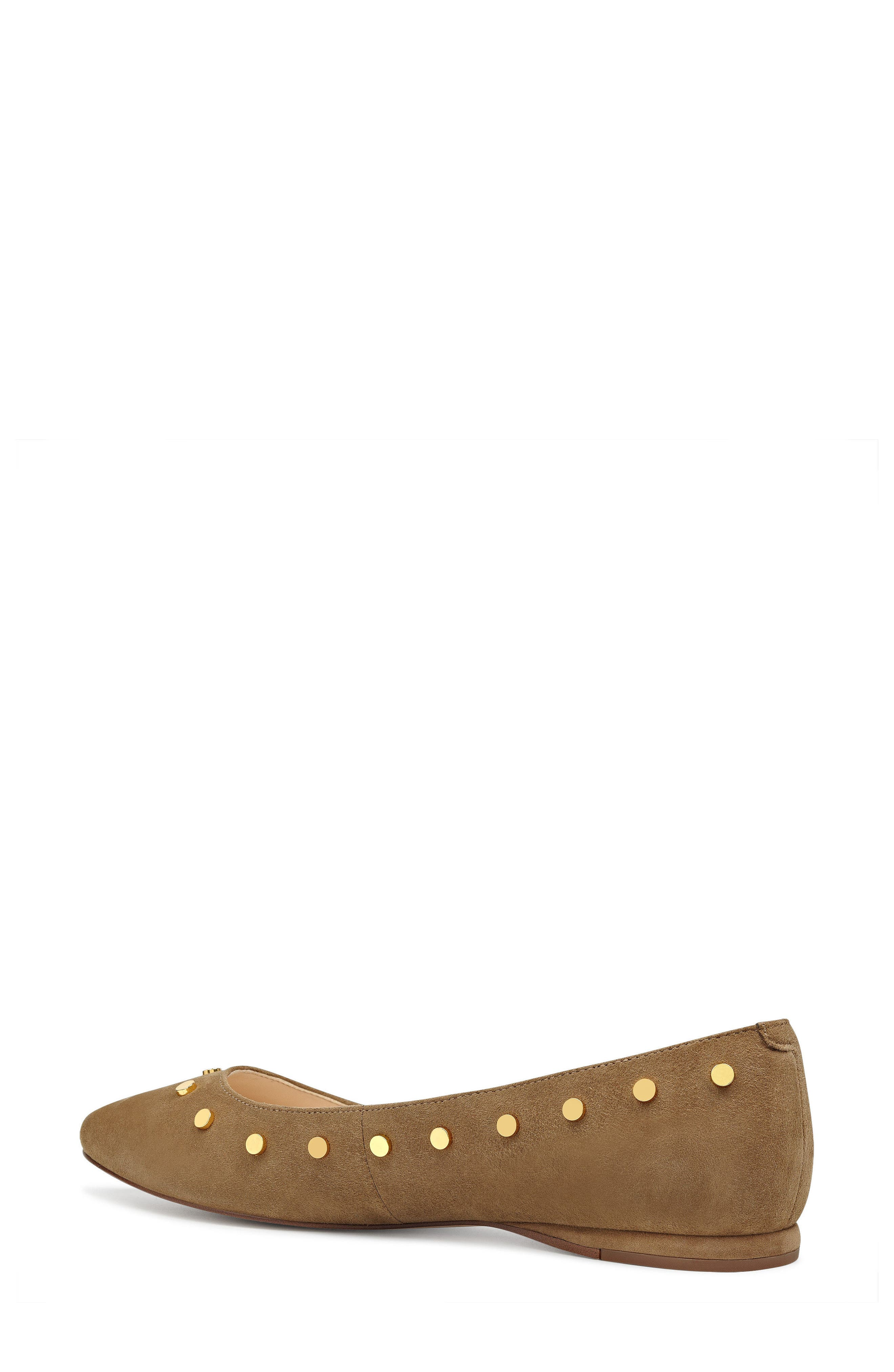Sigismonda Studded Flat,                             Alternate thumbnail 2, color,                             Green Suede