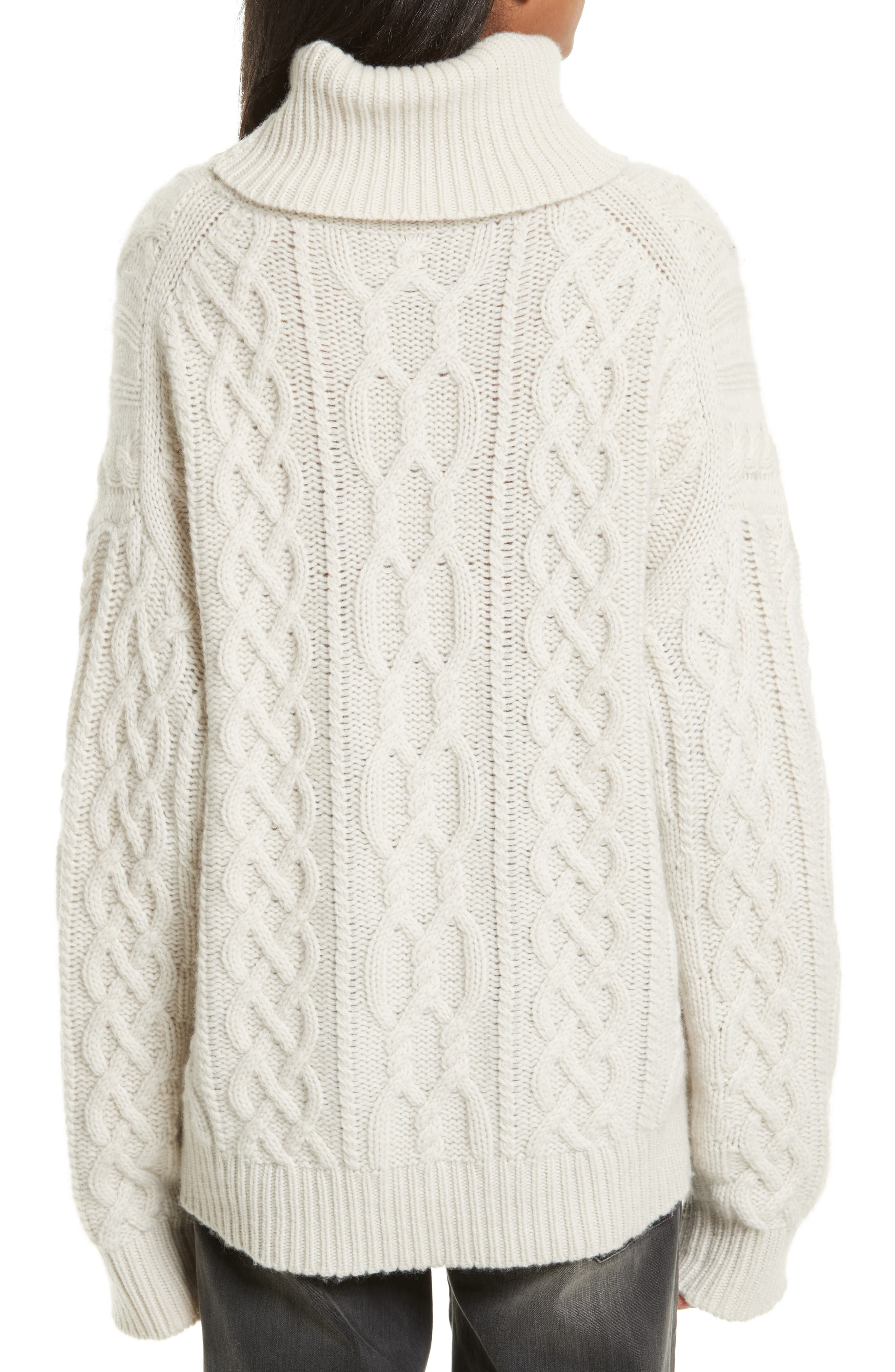 Cecil Cable Knit Cashmere Turtleneck Sweater,                             Alternate thumbnail 2, color,                             Ivory