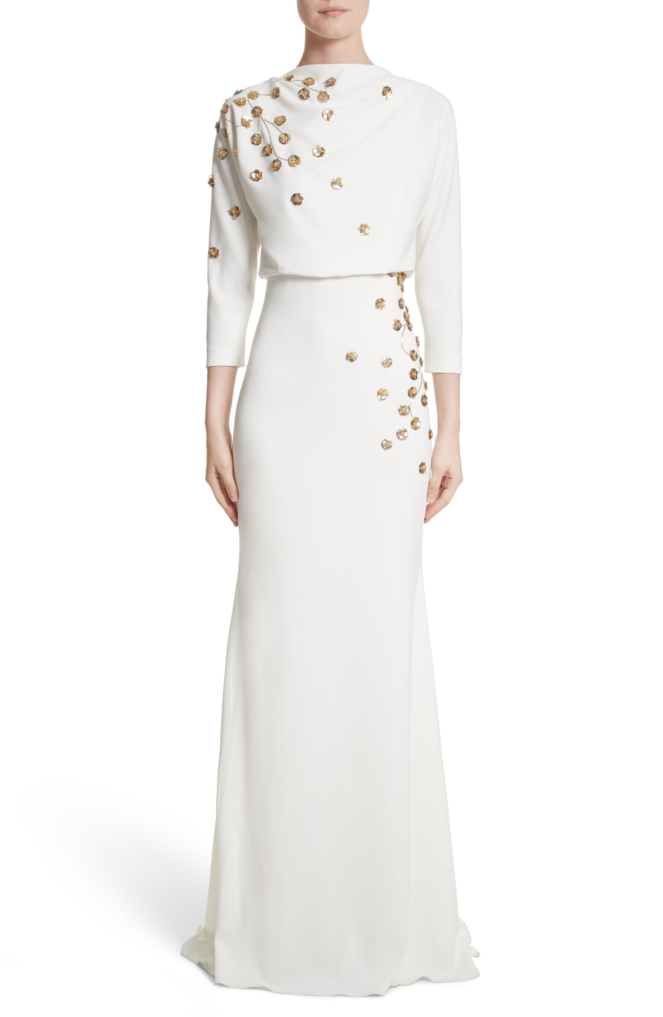 Badgley Mischka Couture Floral Embellished Crepe Gown,                             Main thumbnail 1, color,                             Light Ivory
