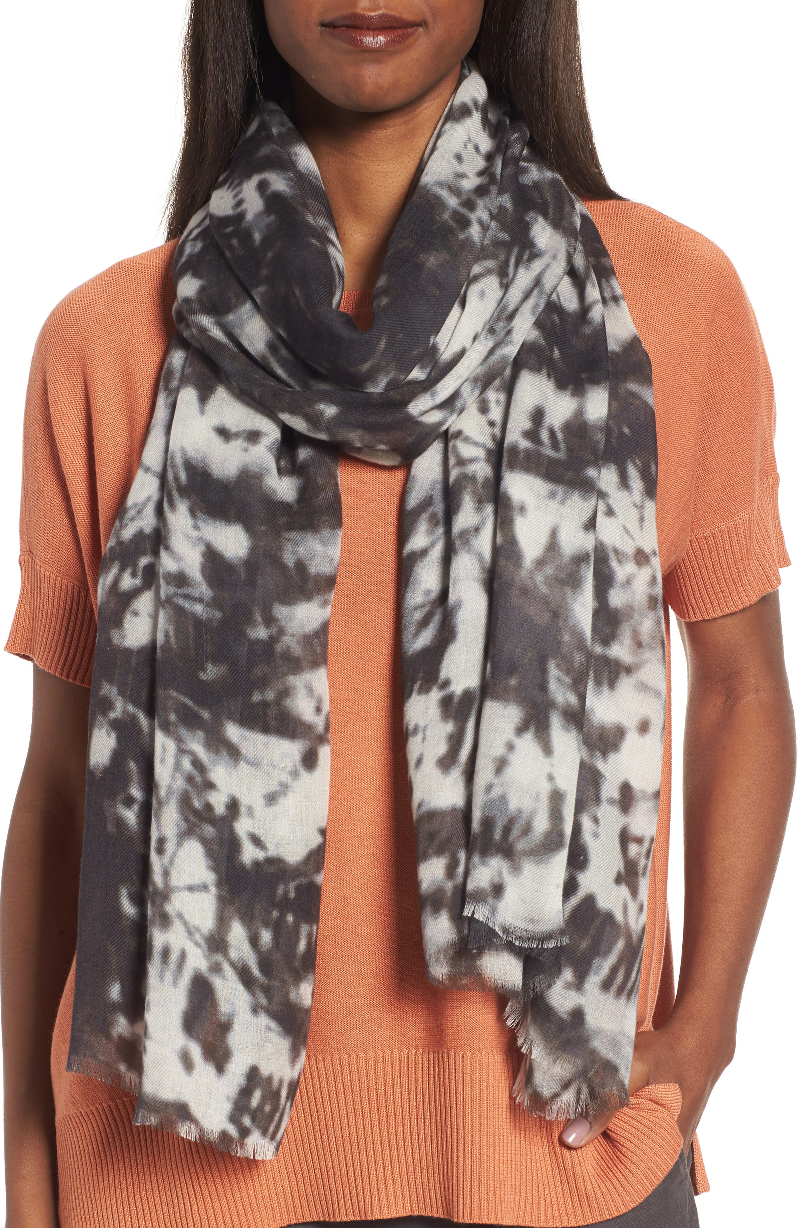 Eileen Fisher Print Silk & Wool Scarf