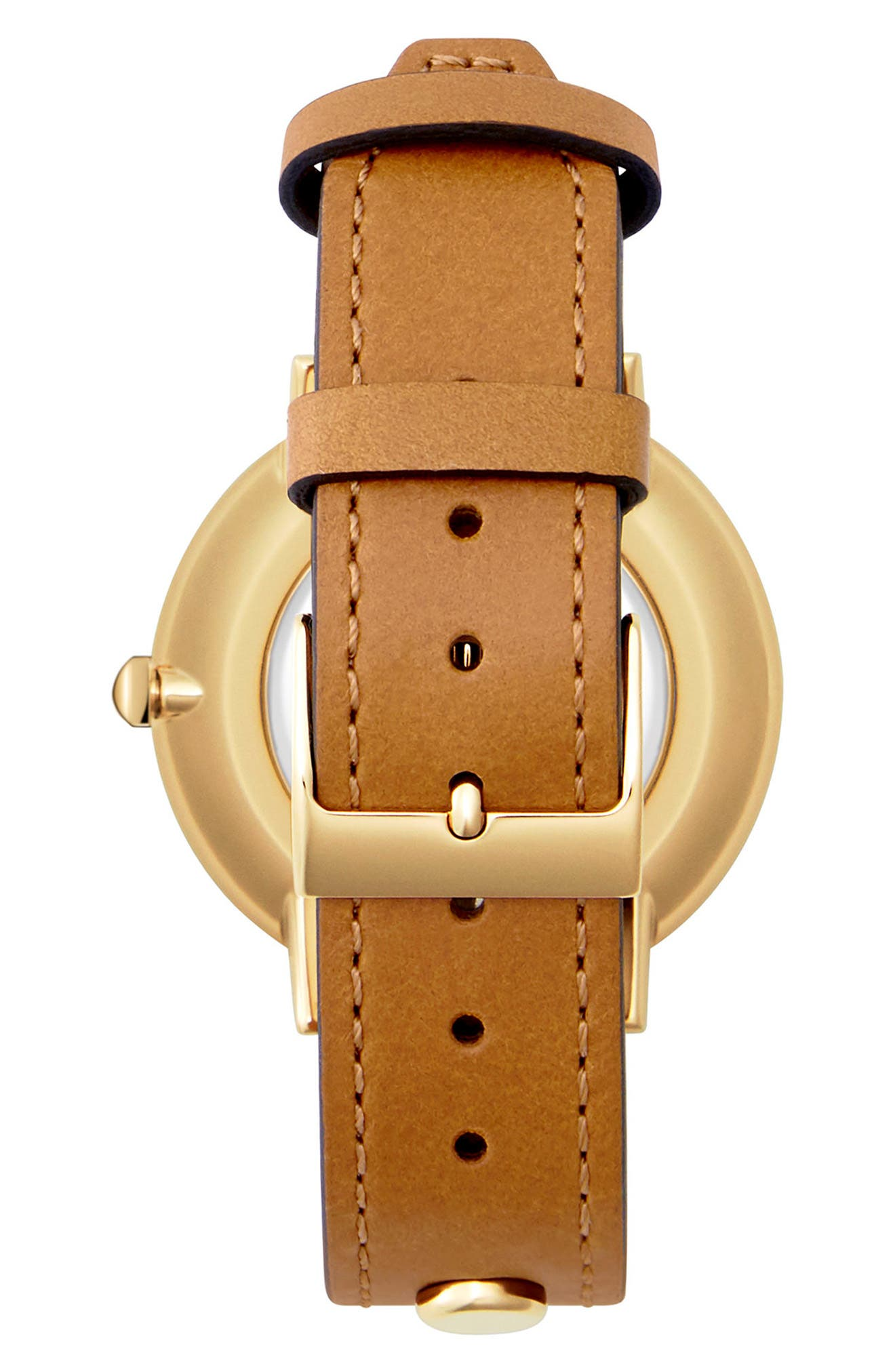 Major Stud Leather Strap Watch, 35mm,                             Alternate thumbnail 2, color,                             Brown/ Black/ Gold