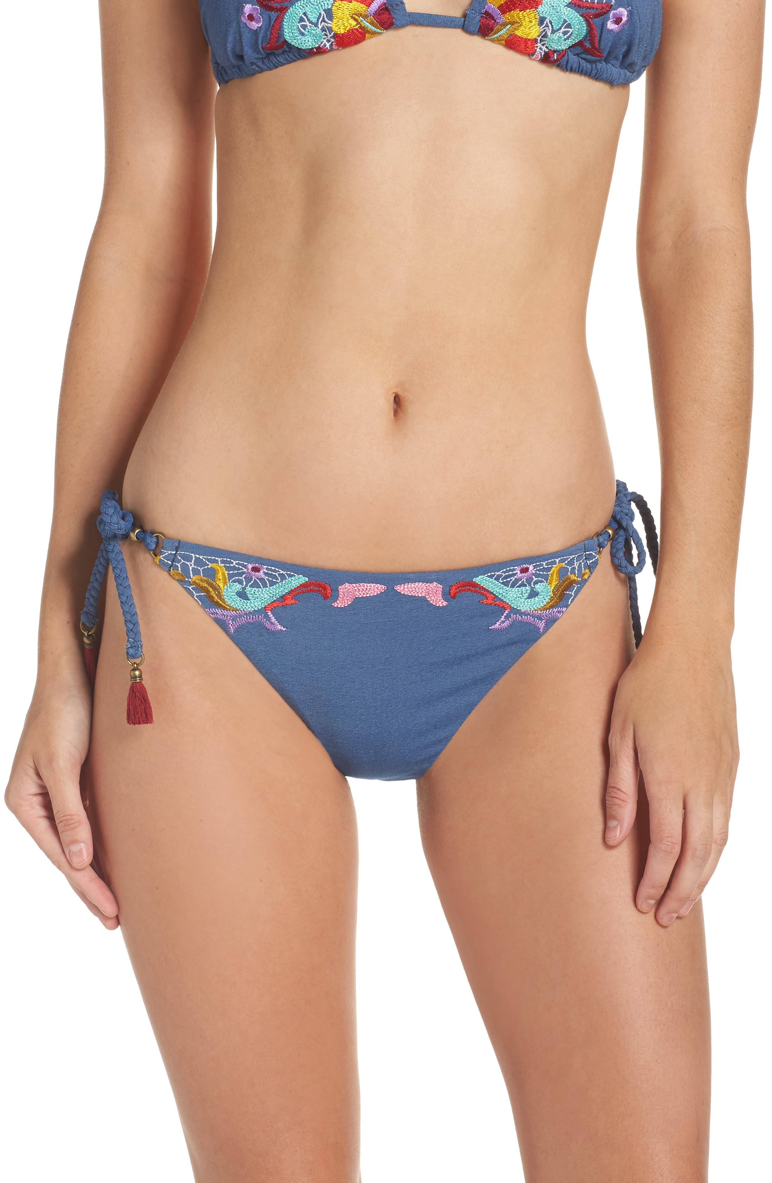 Dazed Denim Vamp Side Tie Bikini Bottoms,                             Main thumbnail 1, color,                             Blue Multi