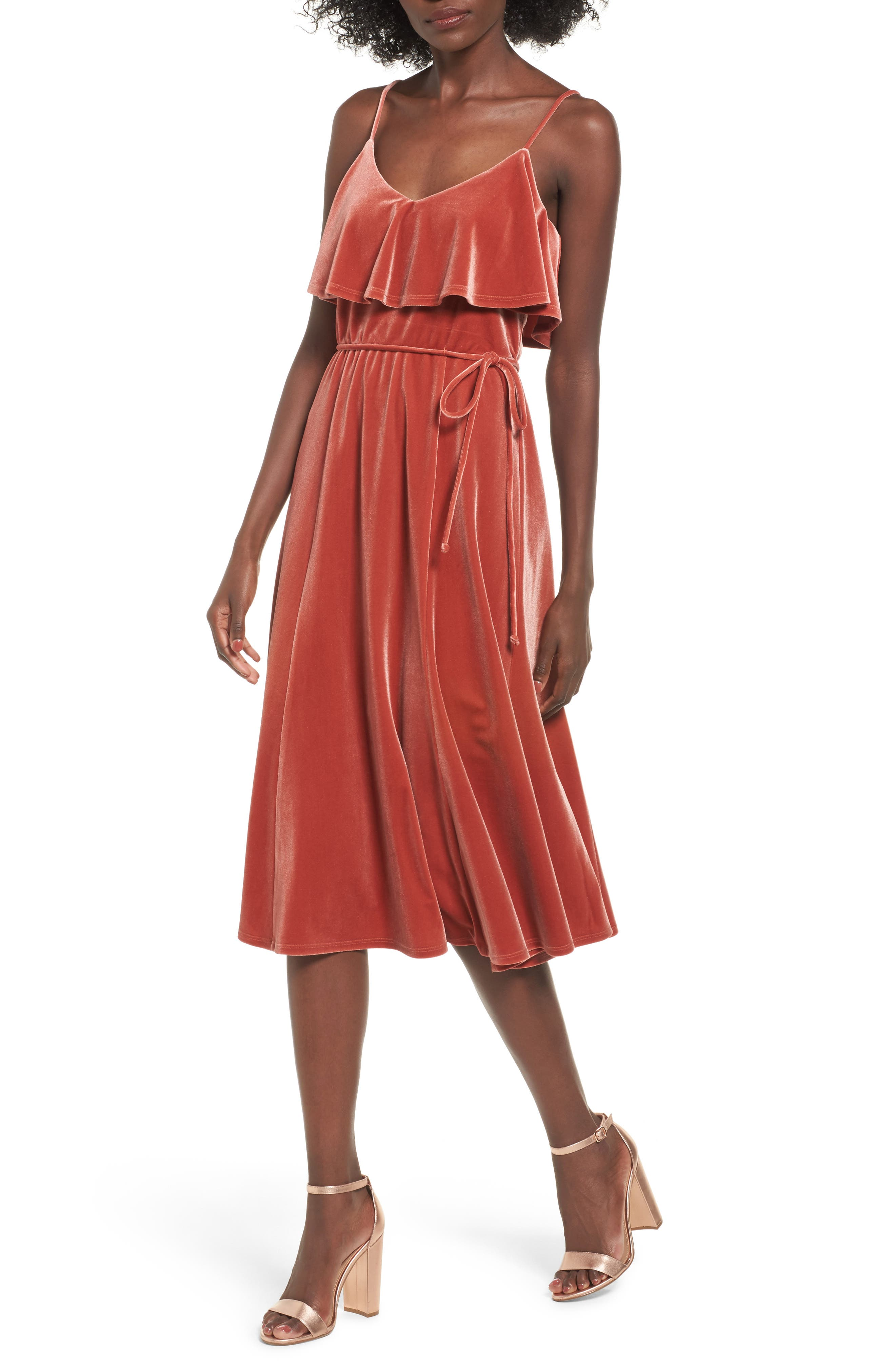Velvet Midi Dress,                             Main thumbnail 1, color,                             Rust Marsala