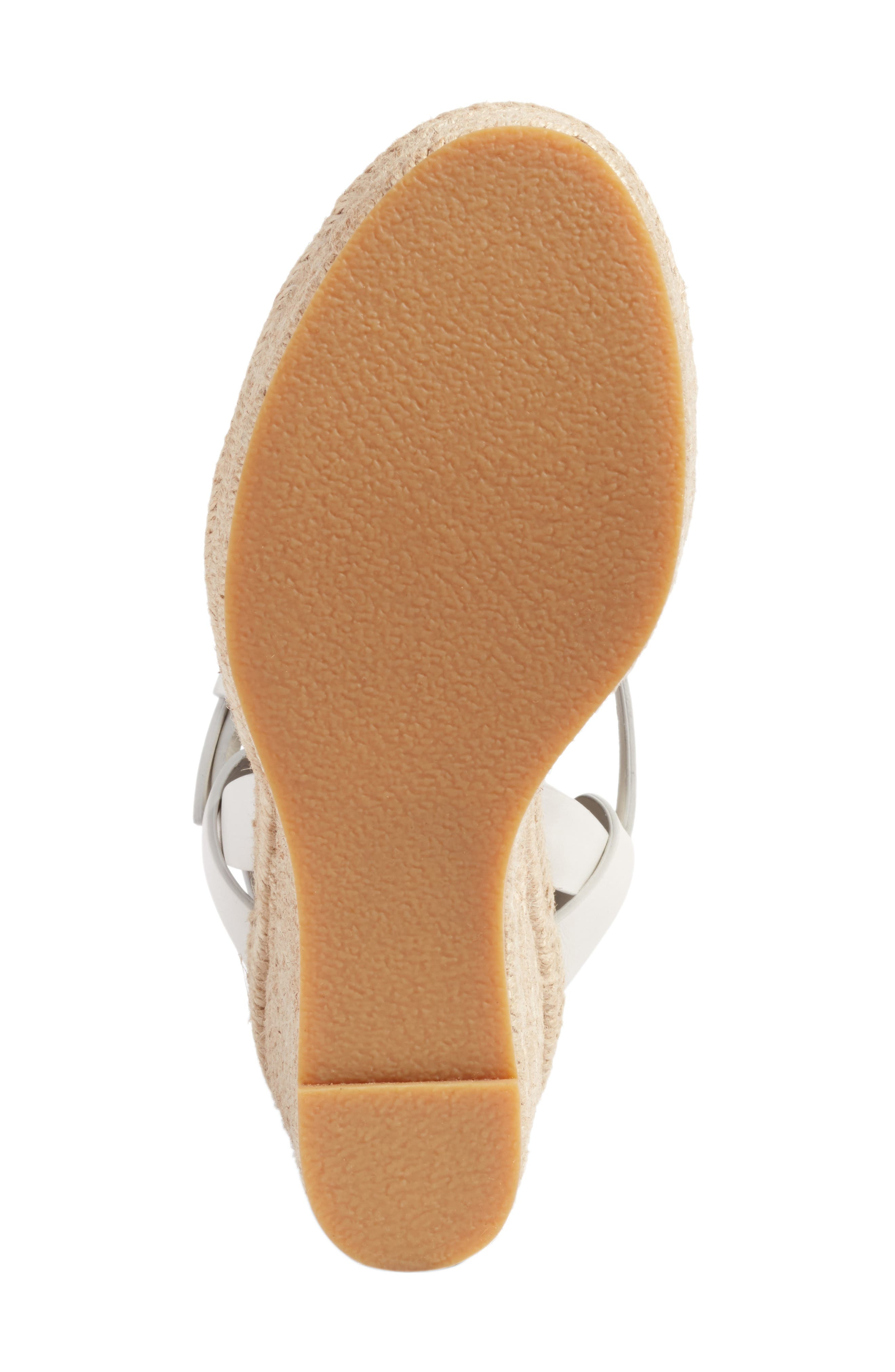 Tribute Espadrille Wedge,                             Alternate thumbnail 6, color,                             White Leather