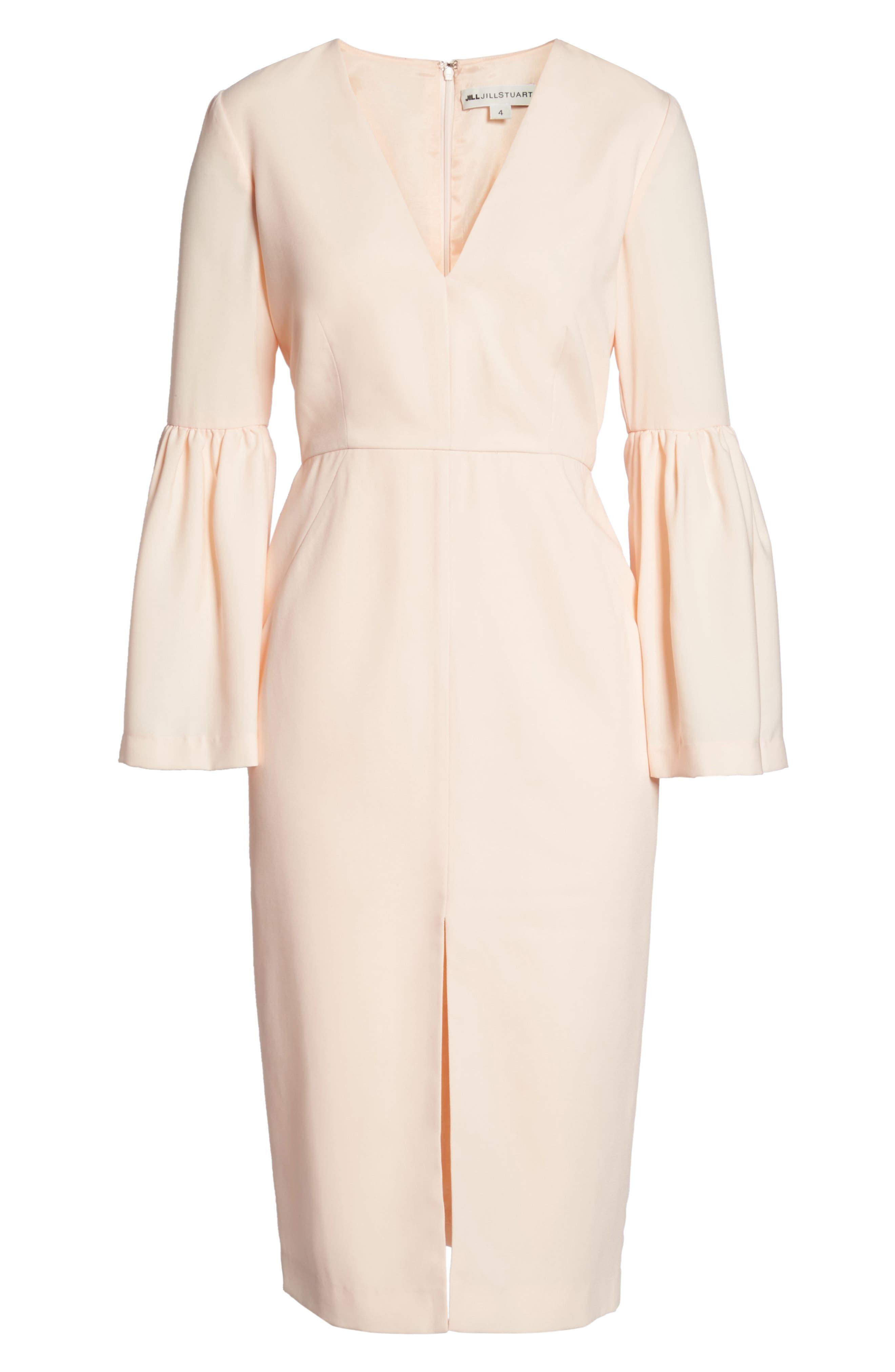 Bell Sleeve Dress,                             Alternate thumbnail 6, color,                             Powder