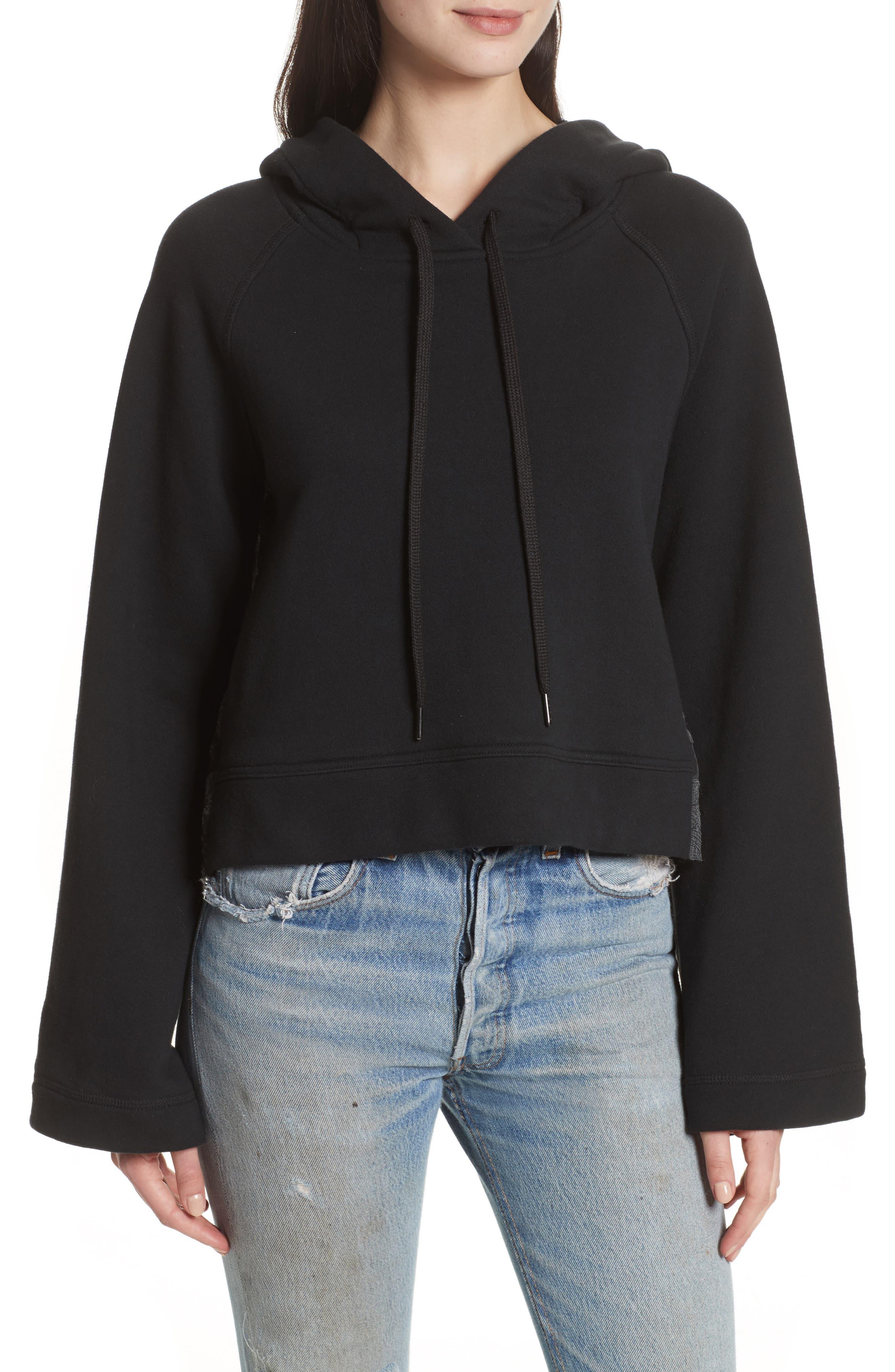 Bell Sleeve Combo Sweatshirt,                         Main,                         color, Black