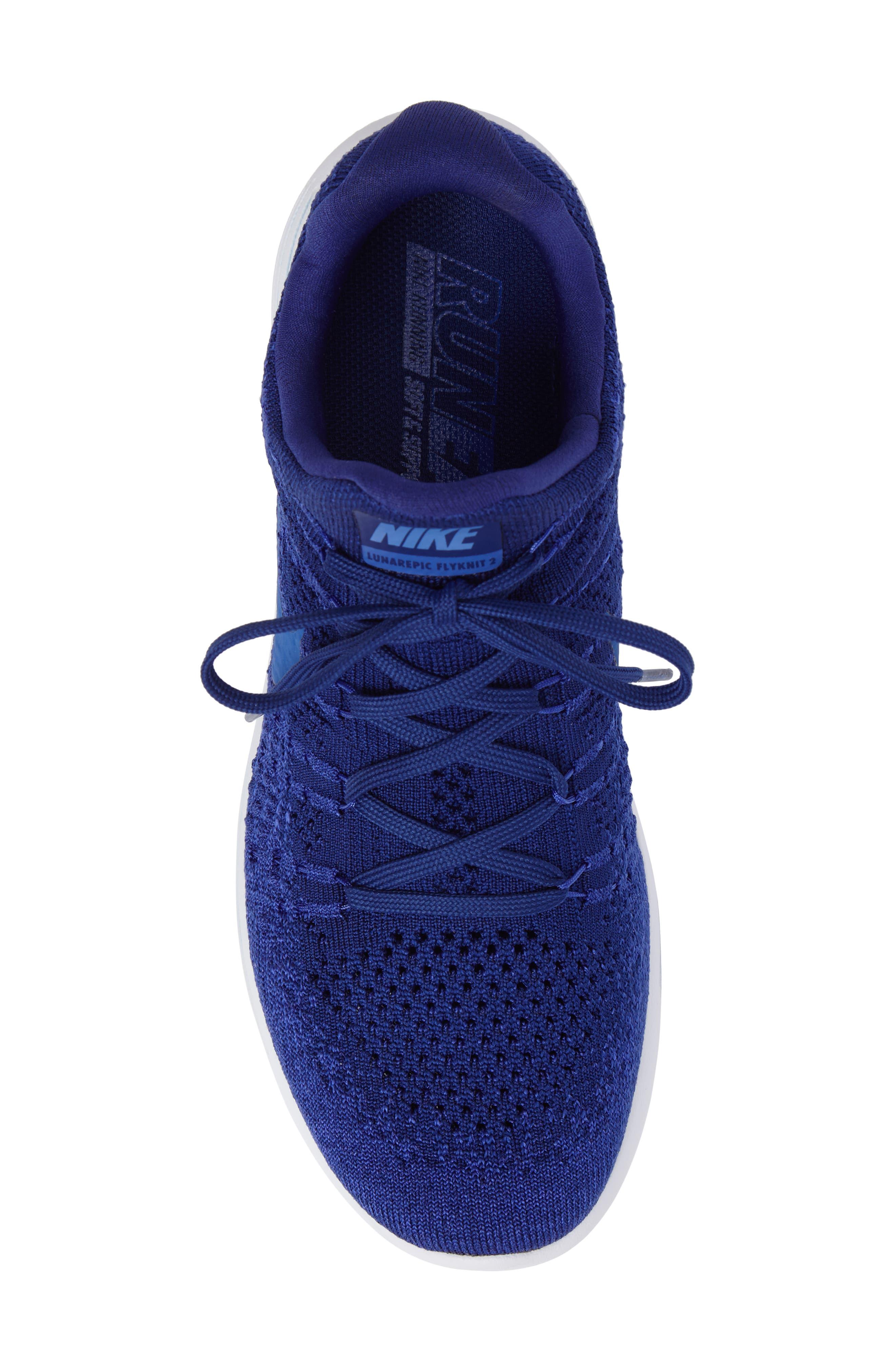 Flyknit 2 LunarEpic Running Shoe,                             Alternate thumbnail 5, color,                             Royal Blue/ Blue