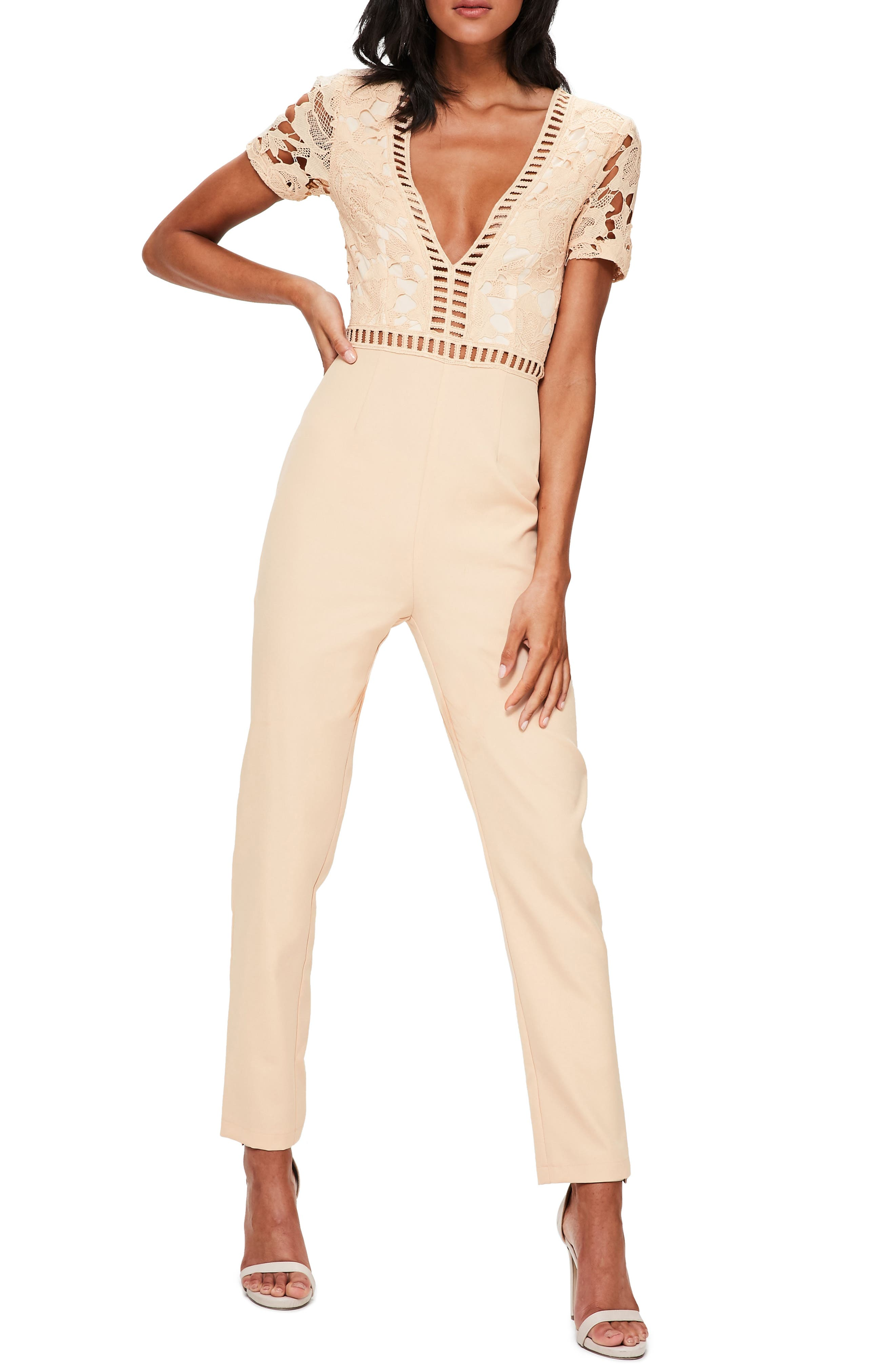 Lace Top Jumpsuit,                             Main thumbnail 1, color,                             Nude