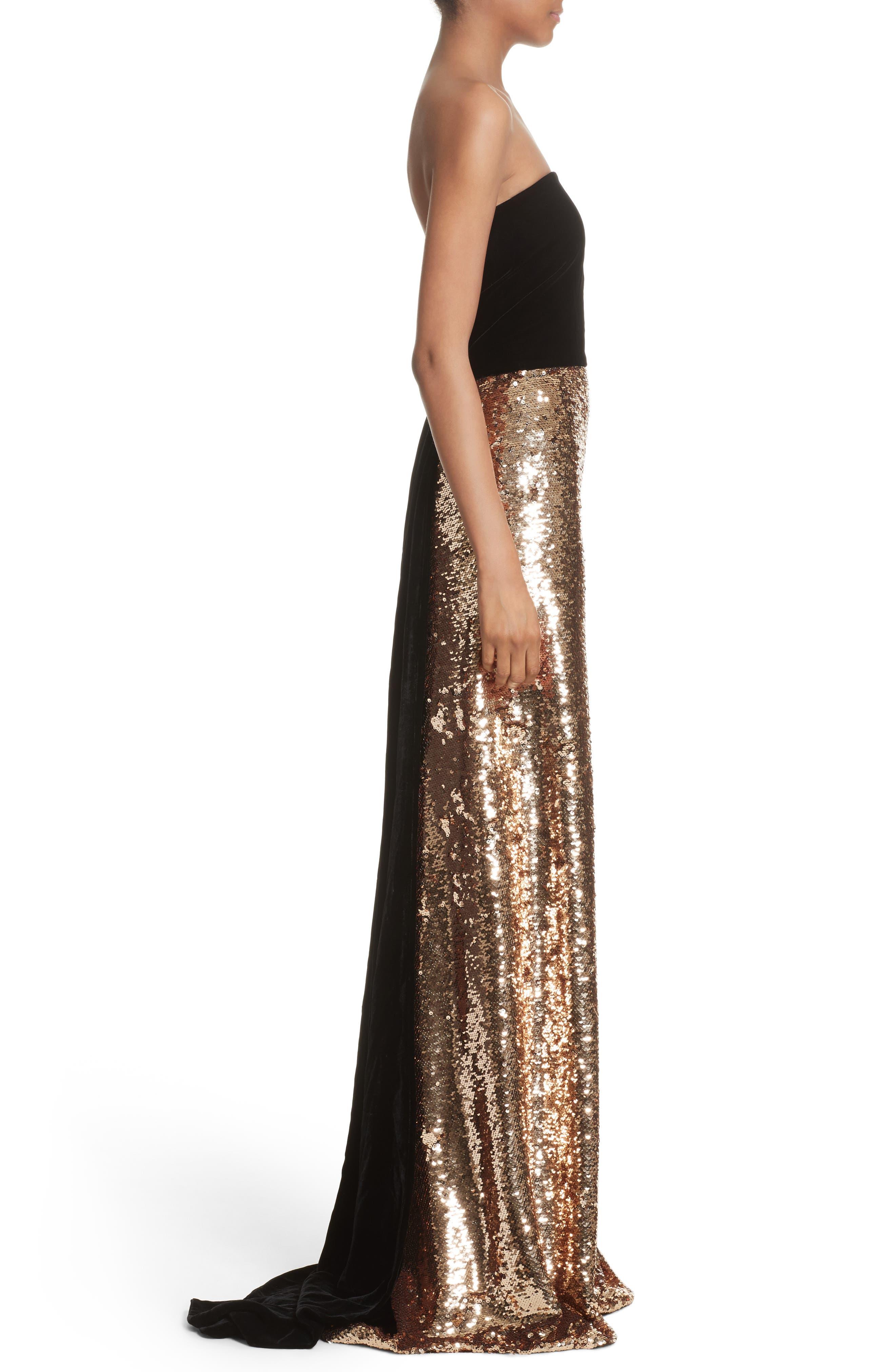Strapless Velvet & Sequin Gown,                             Alternate thumbnail 3, color,                             Gold/ Noir