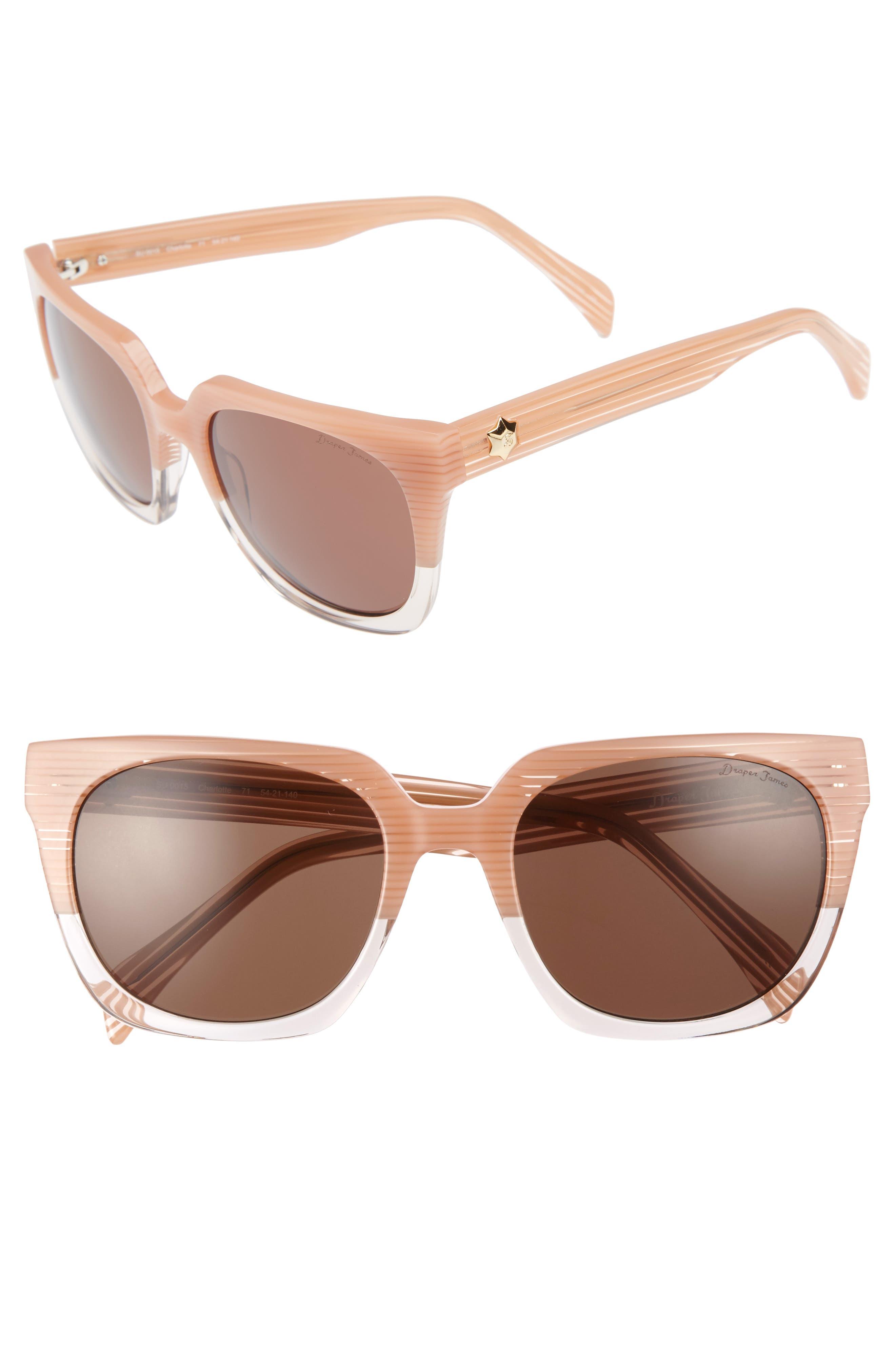 54mm Square Sunglasses,                             Main thumbnail 1, color,                             Pink