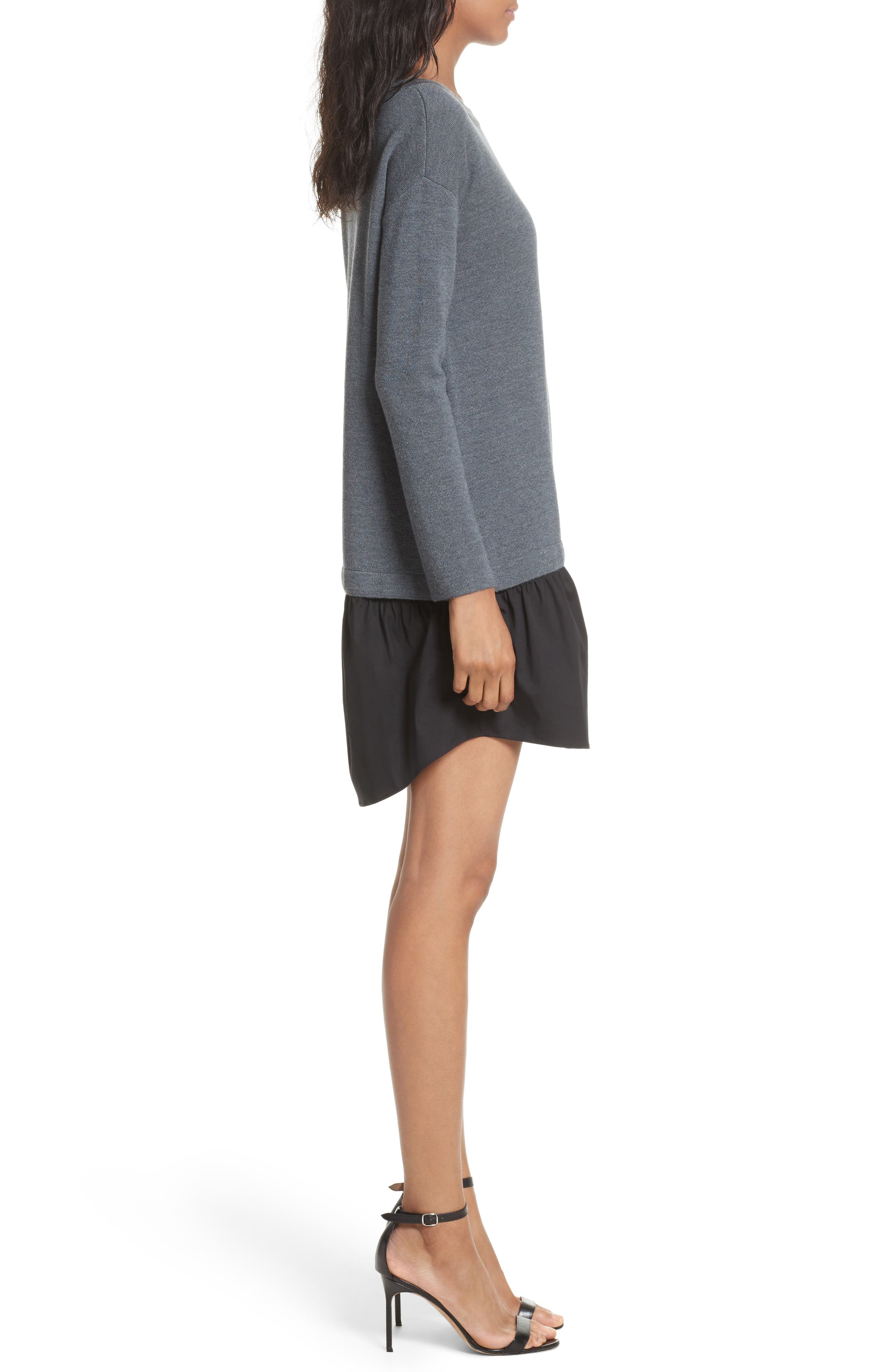 2-in-1 Sweater Dress,                             Alternate thumbnail 3, color,                             Heather Grey