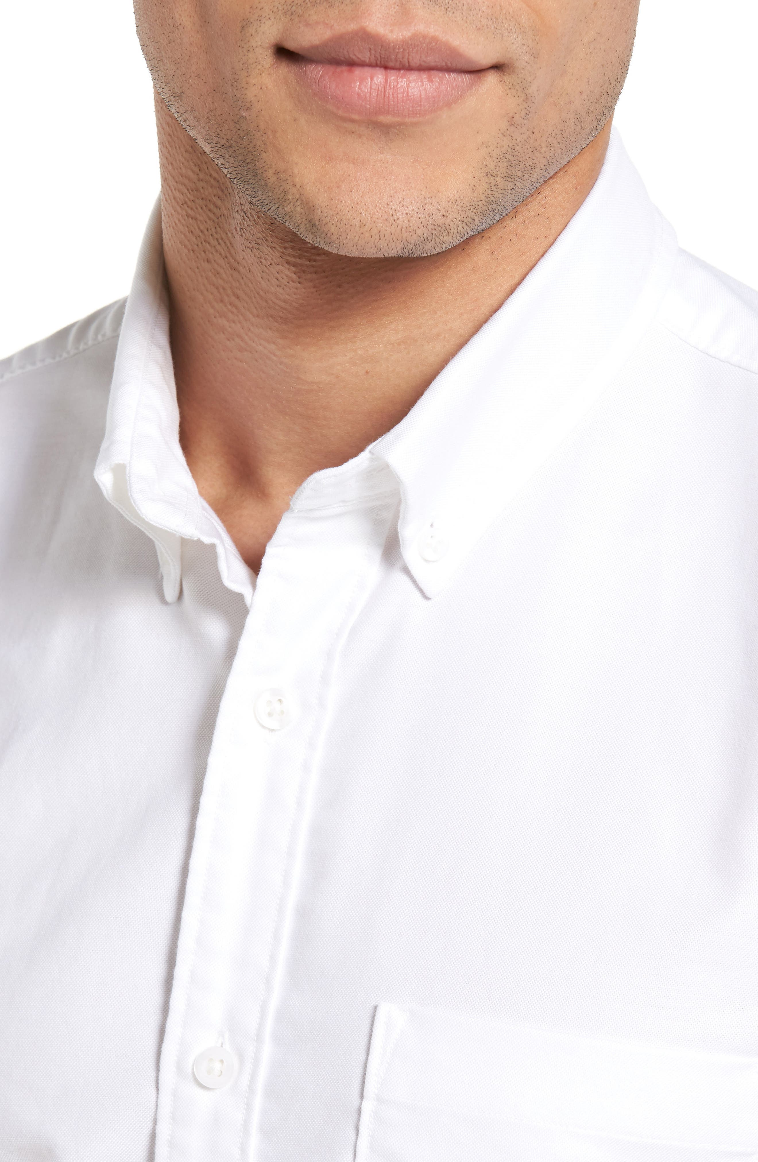 Trim Fit Washed Oxford Shirt,                             Alternate thumbnail 2, color,                             White Oxford