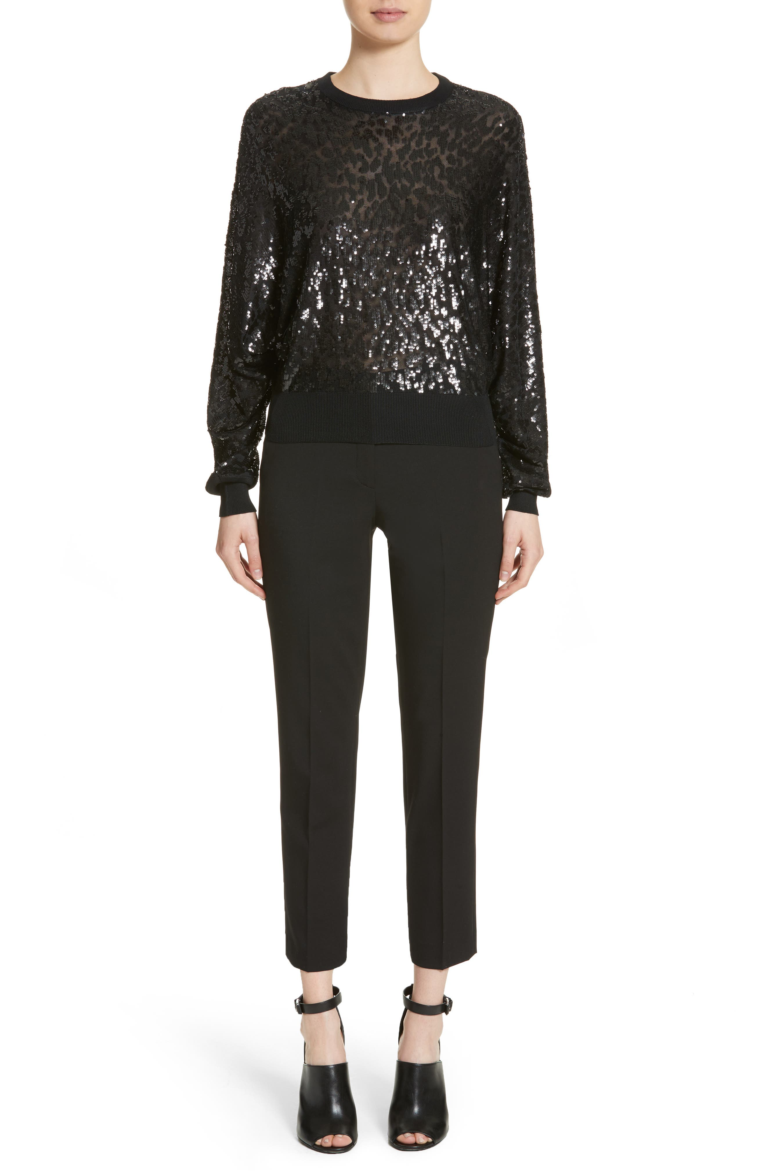 Sequined Tulle Leopard Sweater,                             Alternate thumbnail 8, color,                             Black/ Black