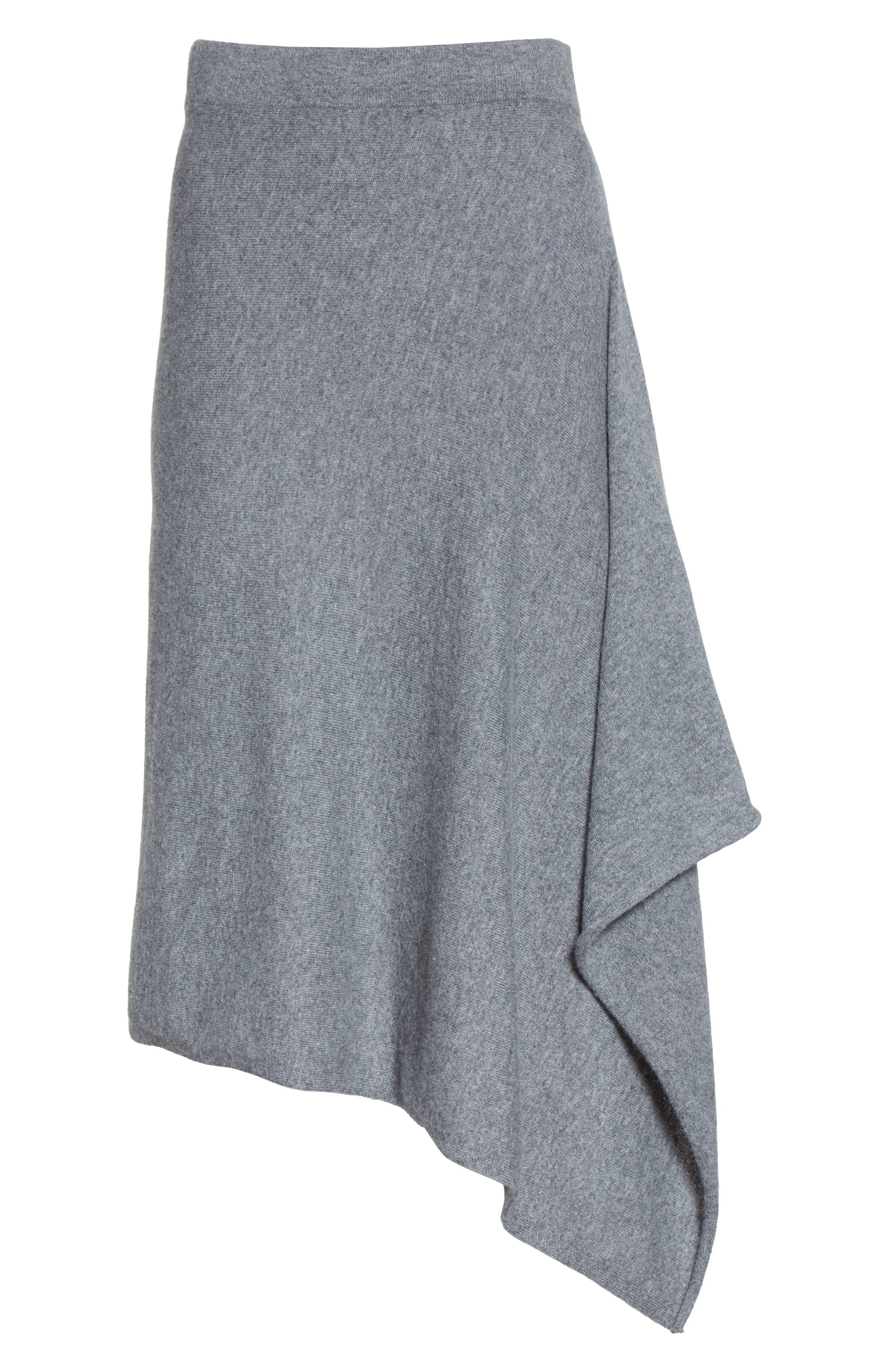 Cashmere Handkerchief Hem Skirt,                             Alternate thumbnail 7, color,                             Banker Mlange