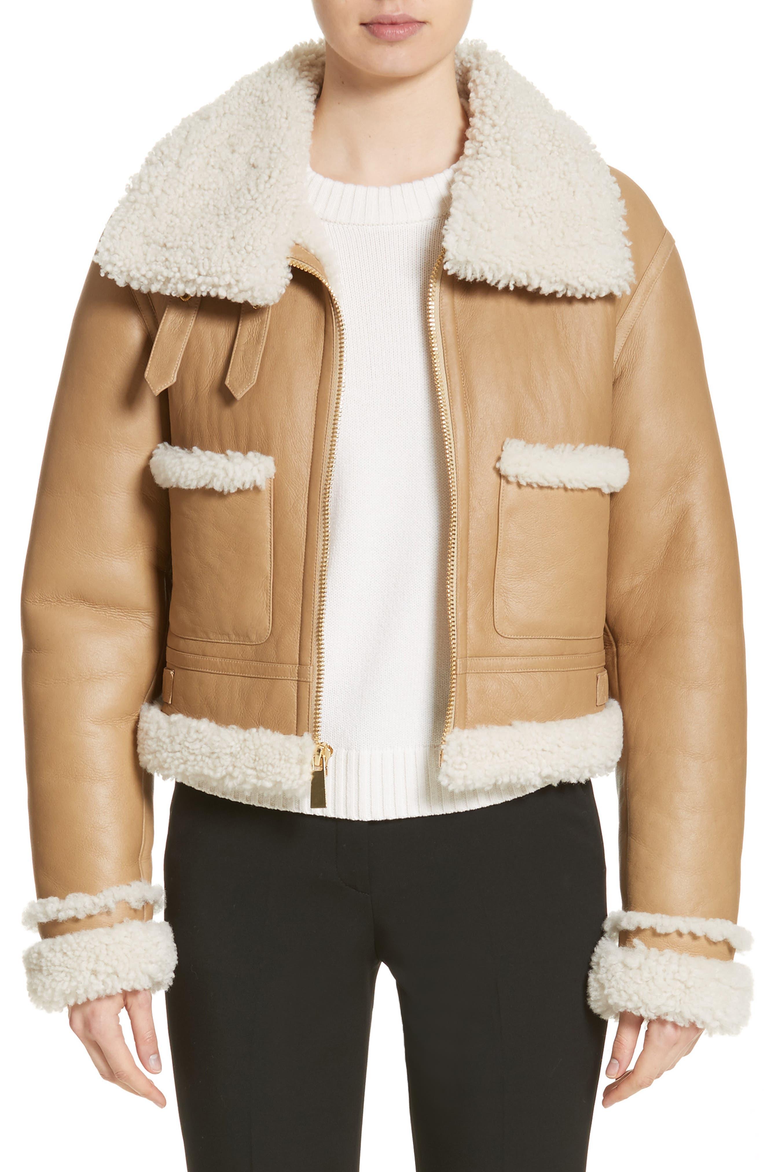 Genuine Shearling Moto Jacket,                         Main,                         color, Chino