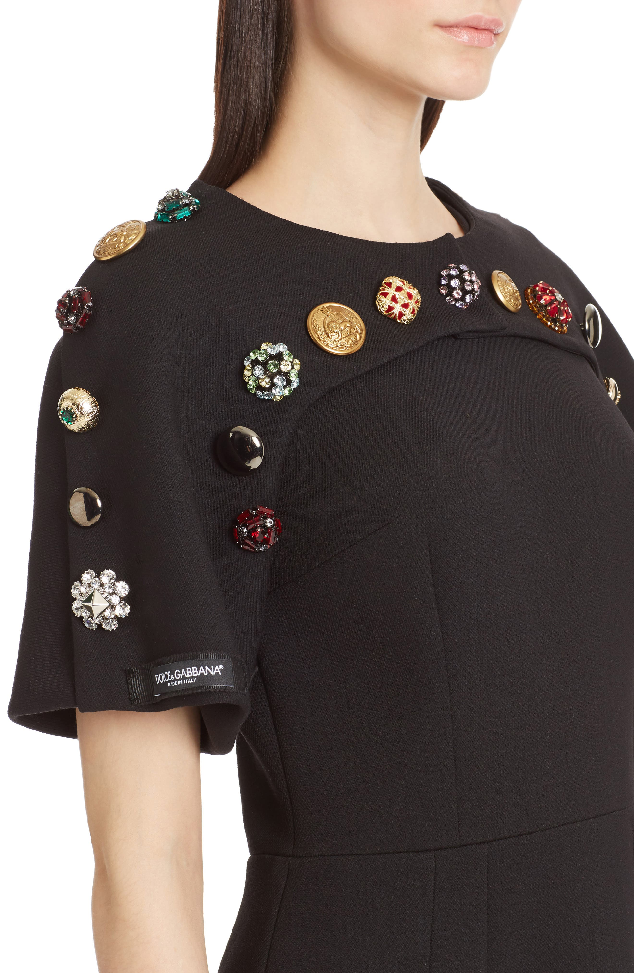 Alternate Image 4  - Dolce&Gabbana Button Trim Stretch Wool Sheath Dress