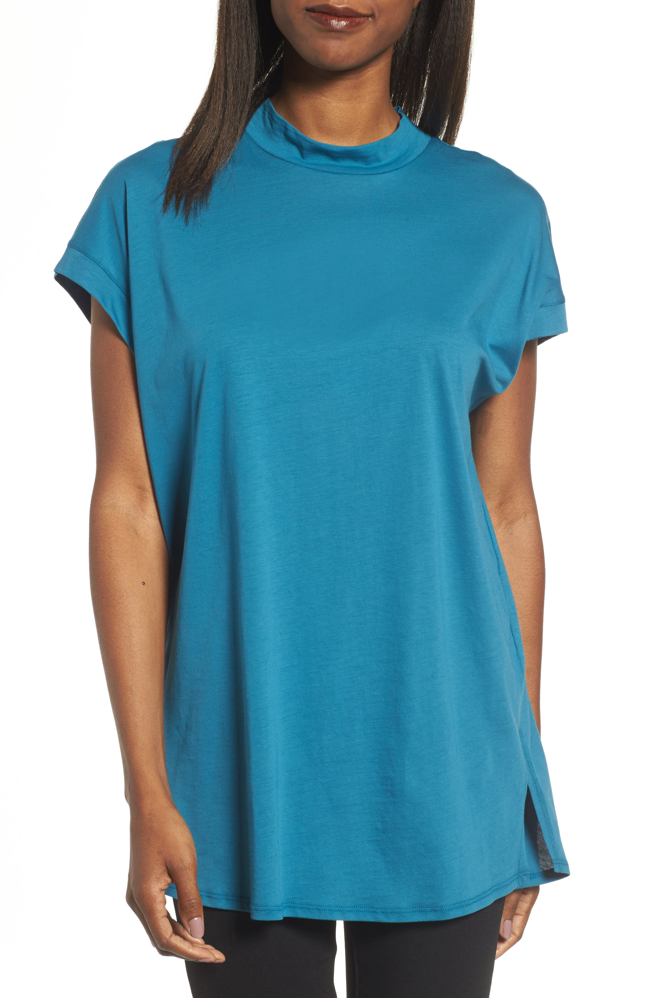 Slub Organic Cotton Top,                         Main,                         color, Nile