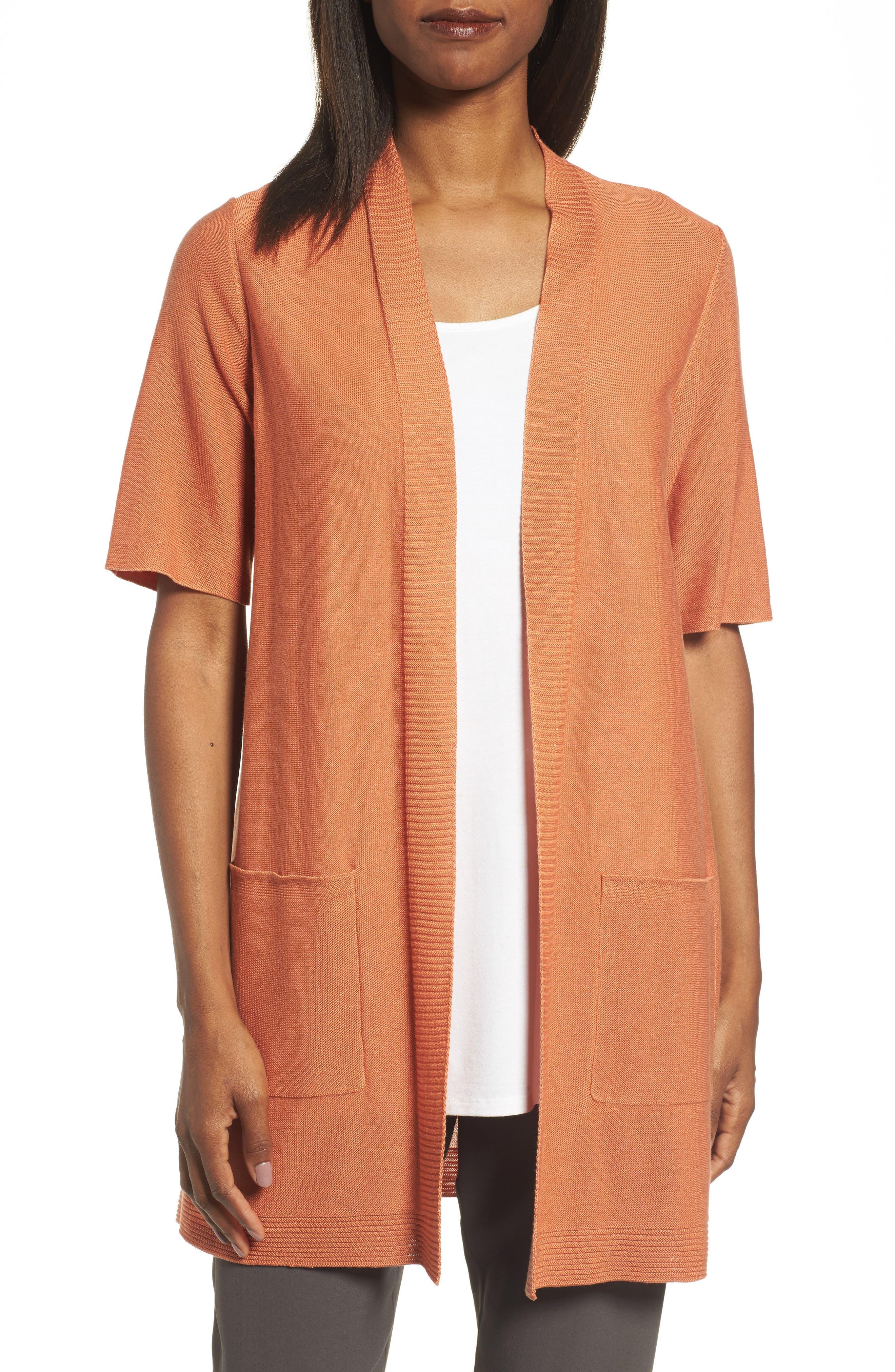 Simple Tencel<sup>®</sup> & Merino Wool Cardigan,                             Main thumbnail 1, color,                             Pumpkin