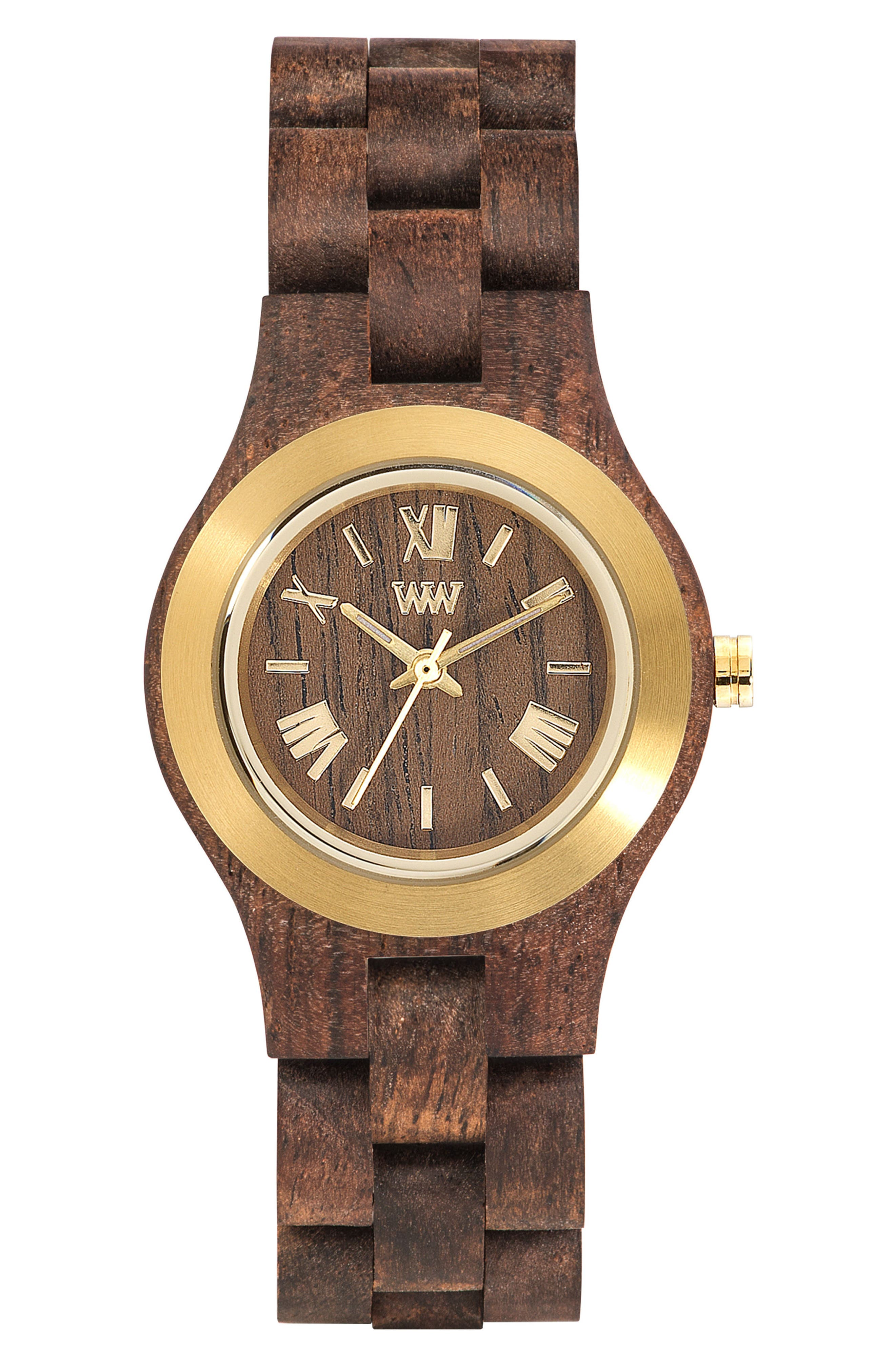 Criss Wood Bracelet Watch, 31mm,                             Main thumbnail 1, color,                             Brown/ Gold