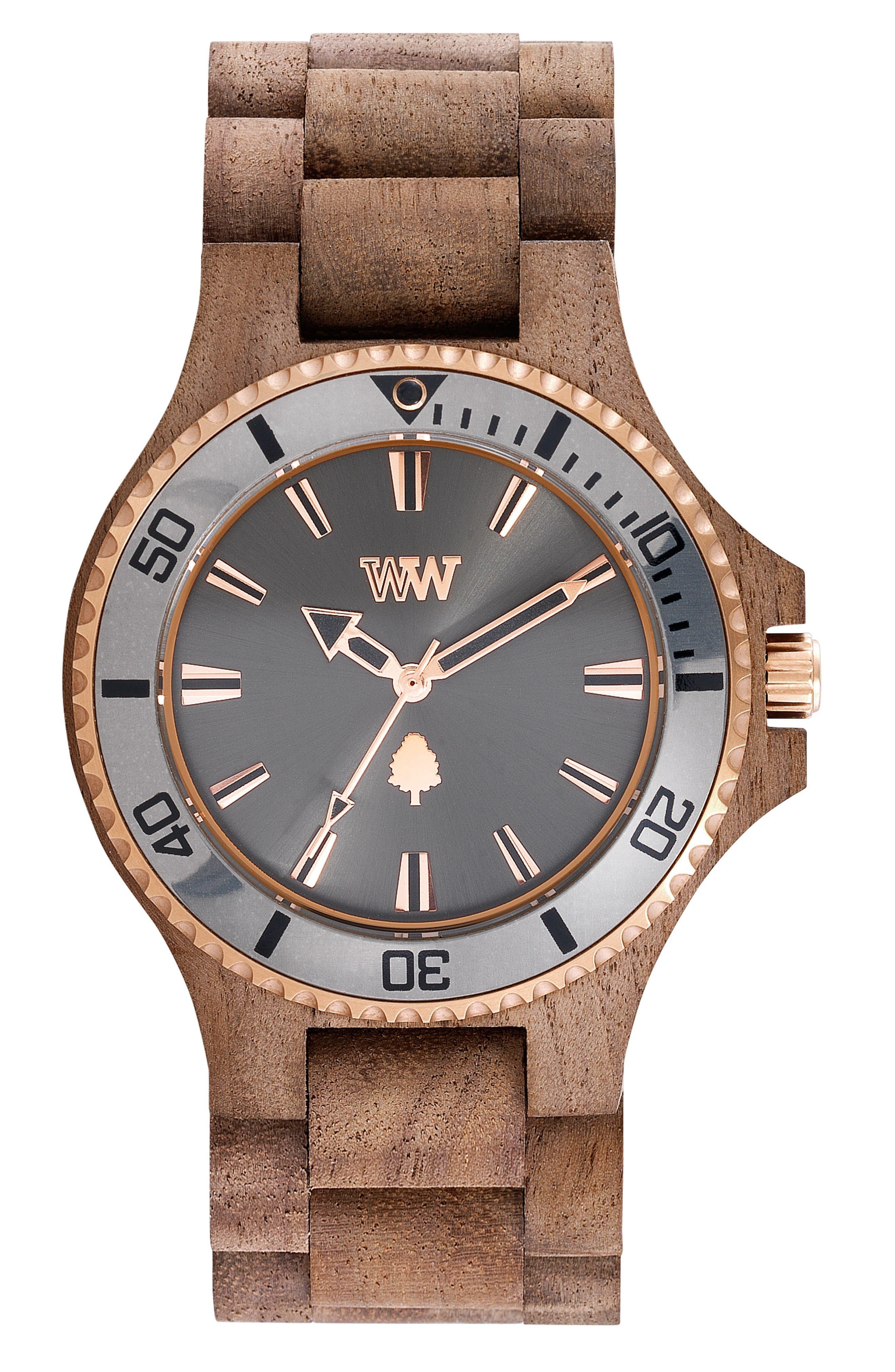 Main Image - WeWOOD Date MB Wood Bracelet Watch, 42mm