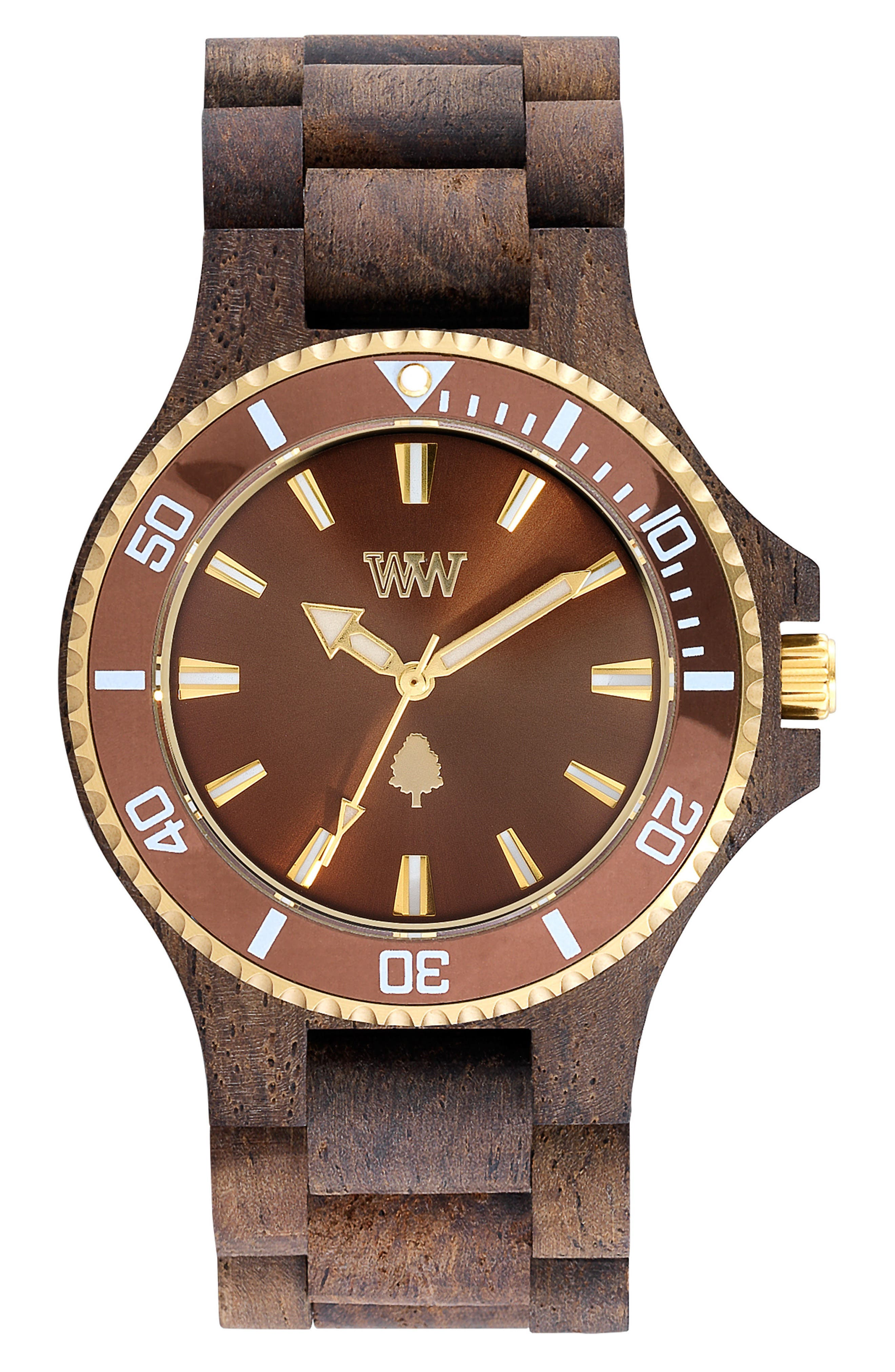 WEWOOD Date MB Wood Bracelet Watch, 42mm