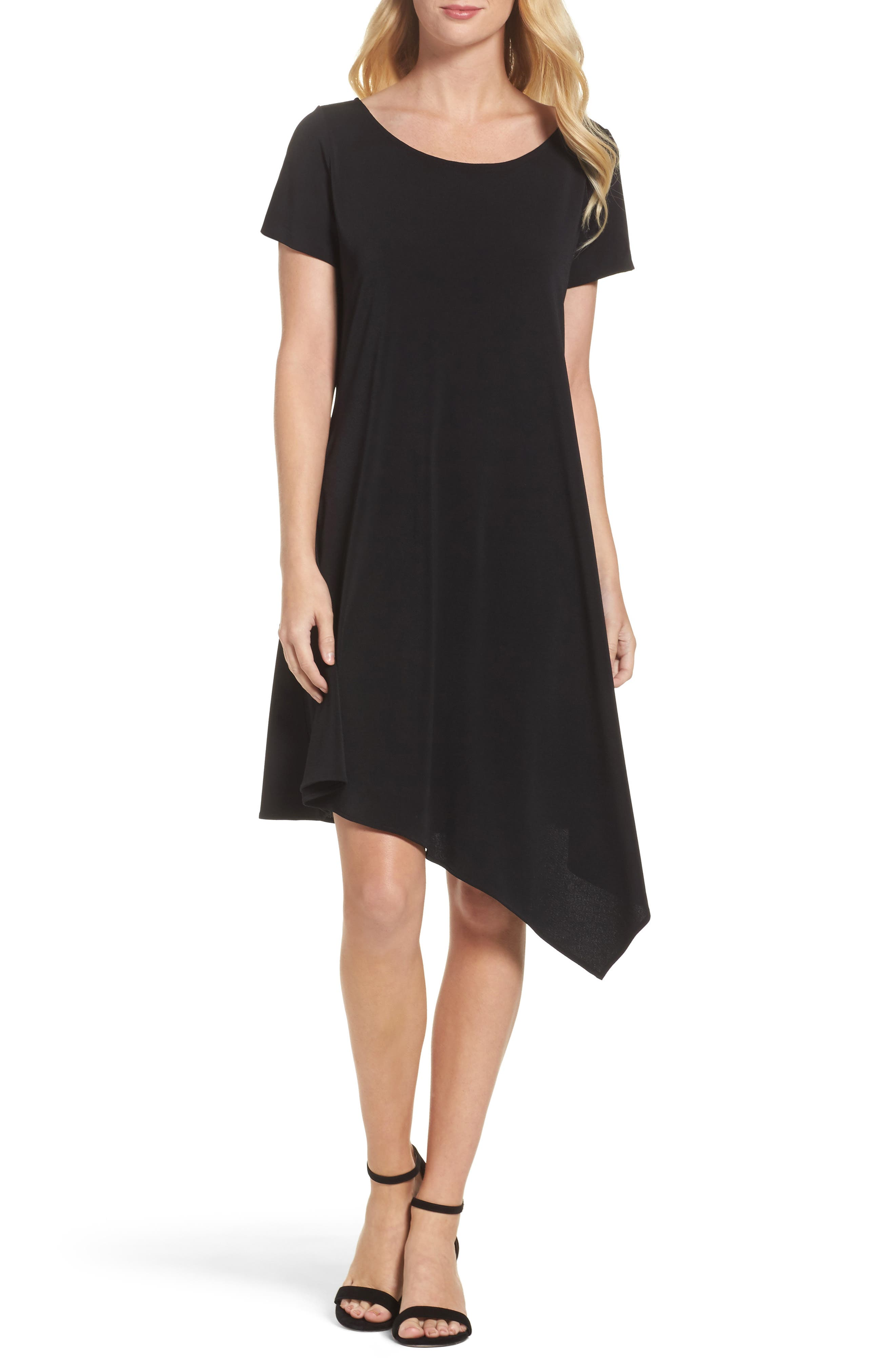 Darien Asymmetrical Dress,                         Main,                         color, Black Crepe