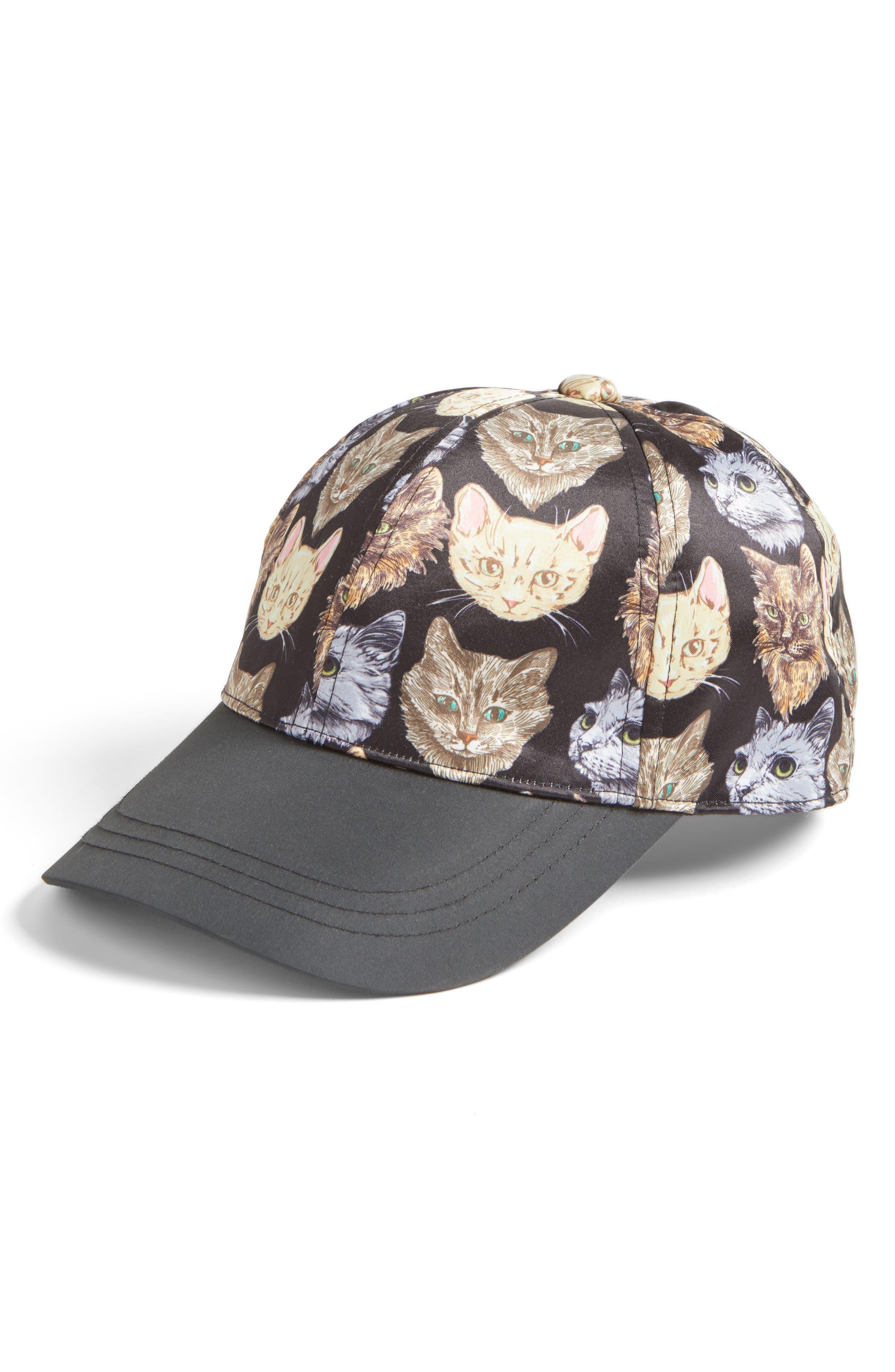 Cat Baseball Cap,                         Main,                         color, Black