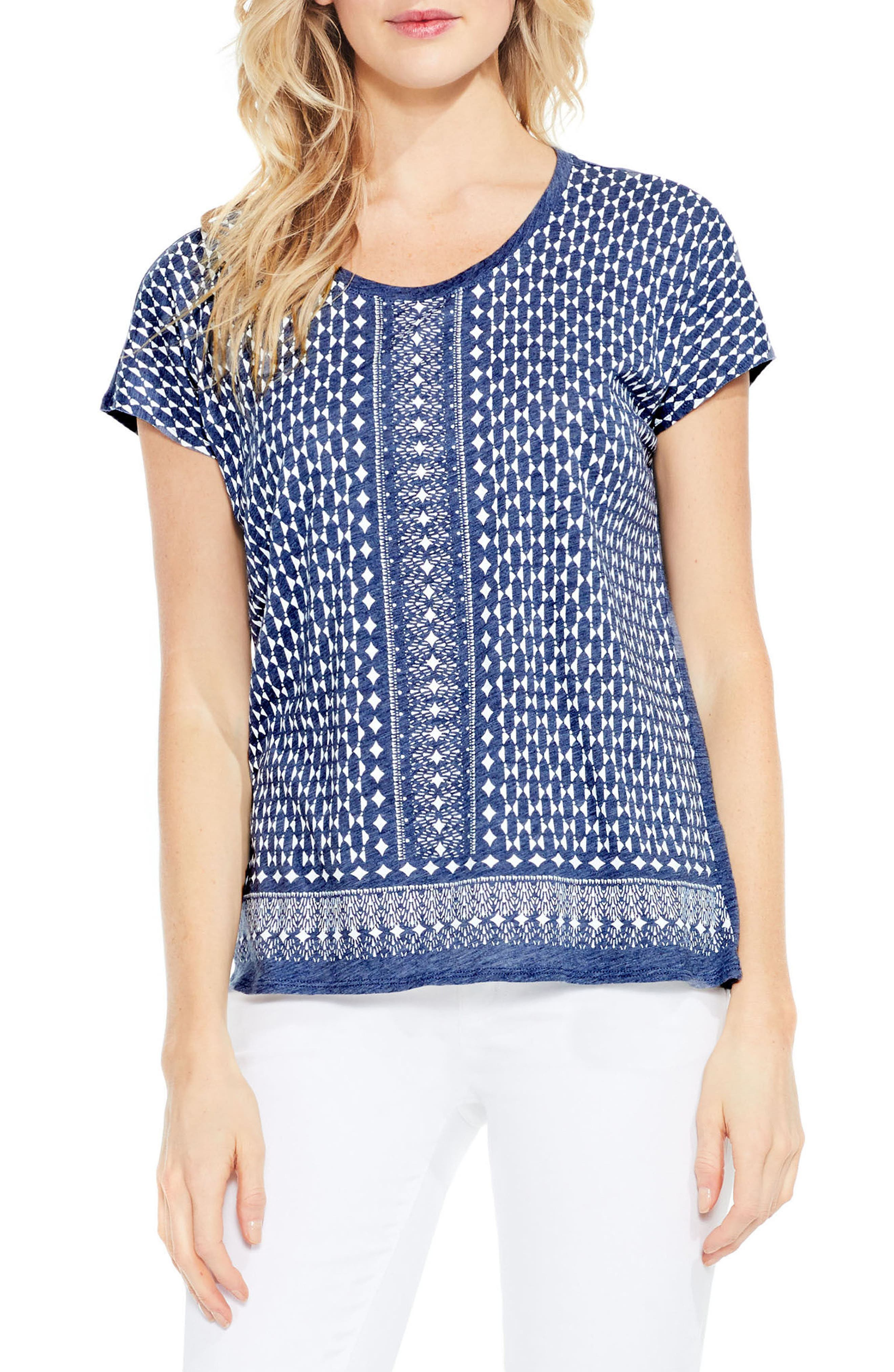 Two by Vince Camuto Tile Border Print Tee