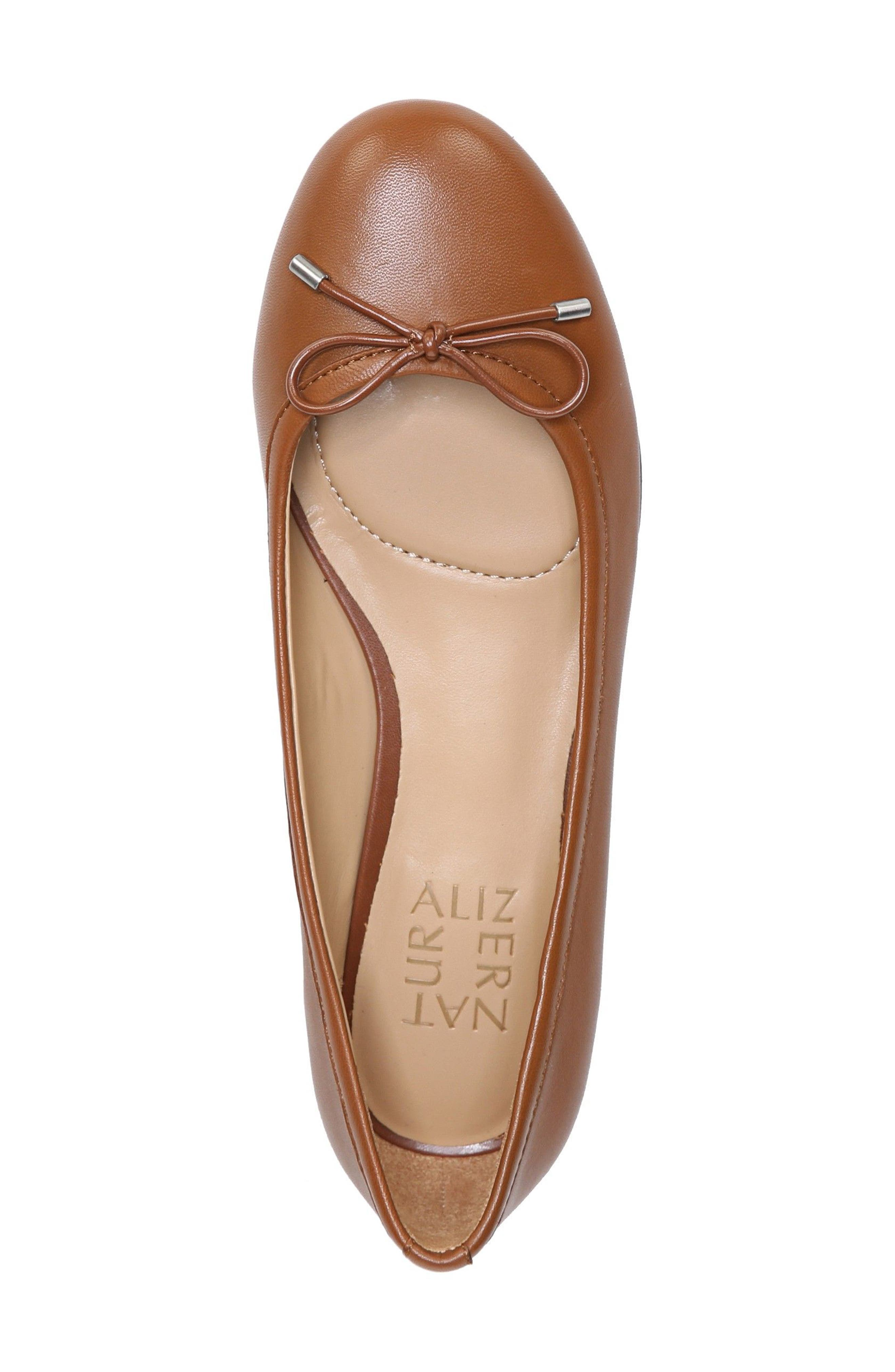 Grace Flat,                             Alternate thumbnail 5, color,                             Saddle Tan Leather