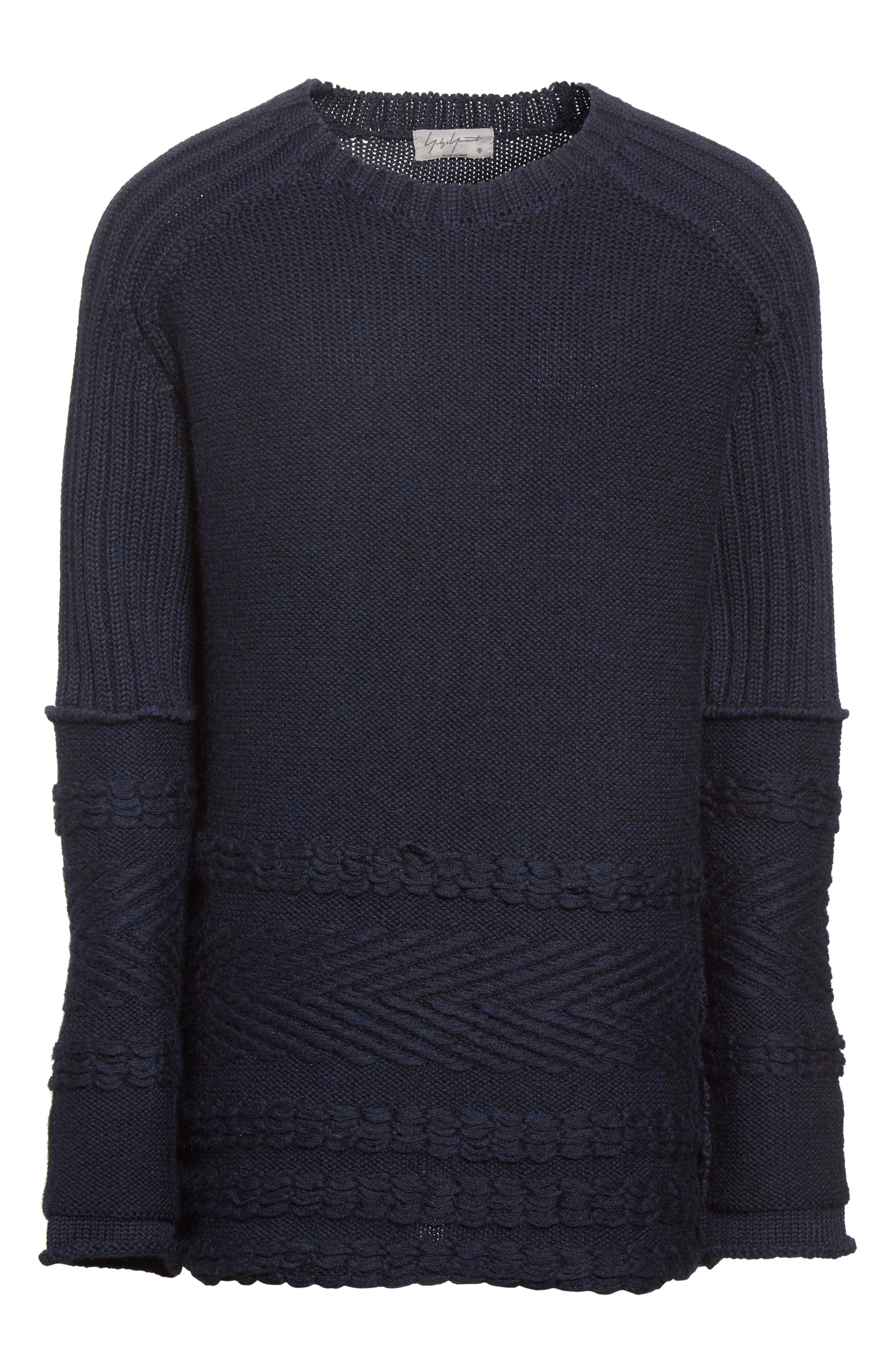 Mixed Knit Wool Sweater,                             Alternate thumbnail 6, color,                             Navy