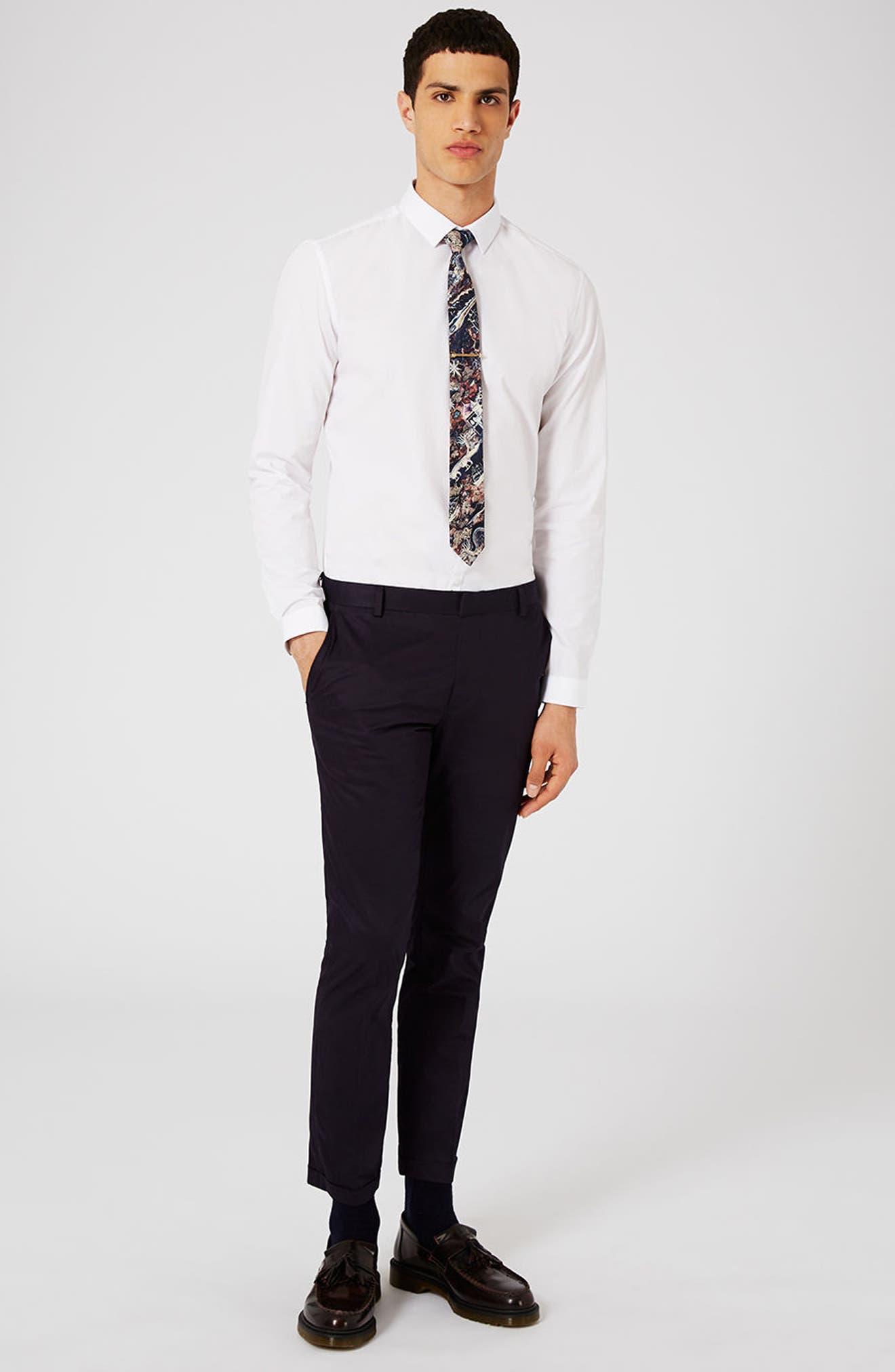 Slim Fit Dress Shirt,                             Alternate thumbnail 3, color,                             White
